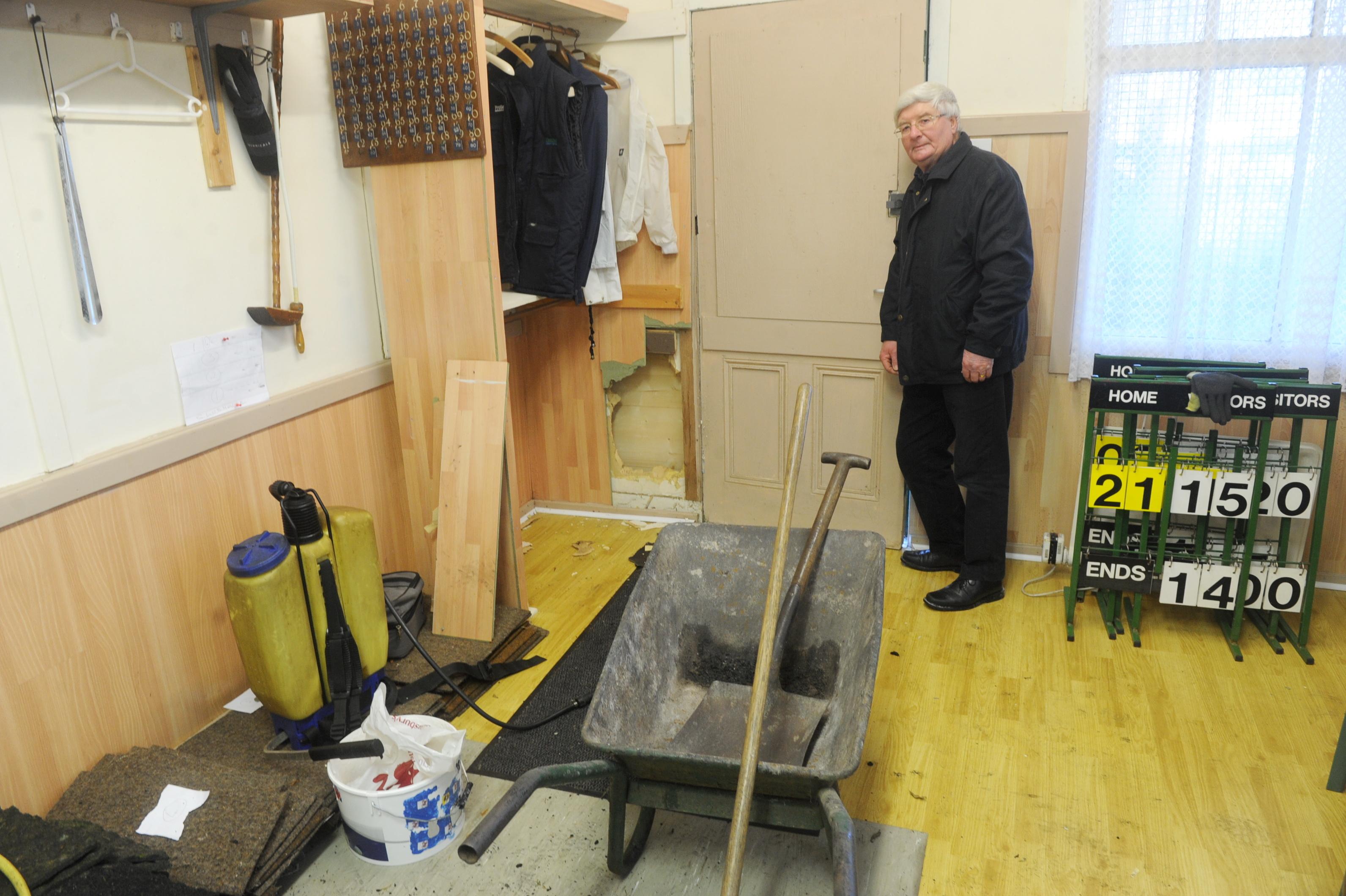 Eric Jamieson with the damage at Grandholm Bowling Club