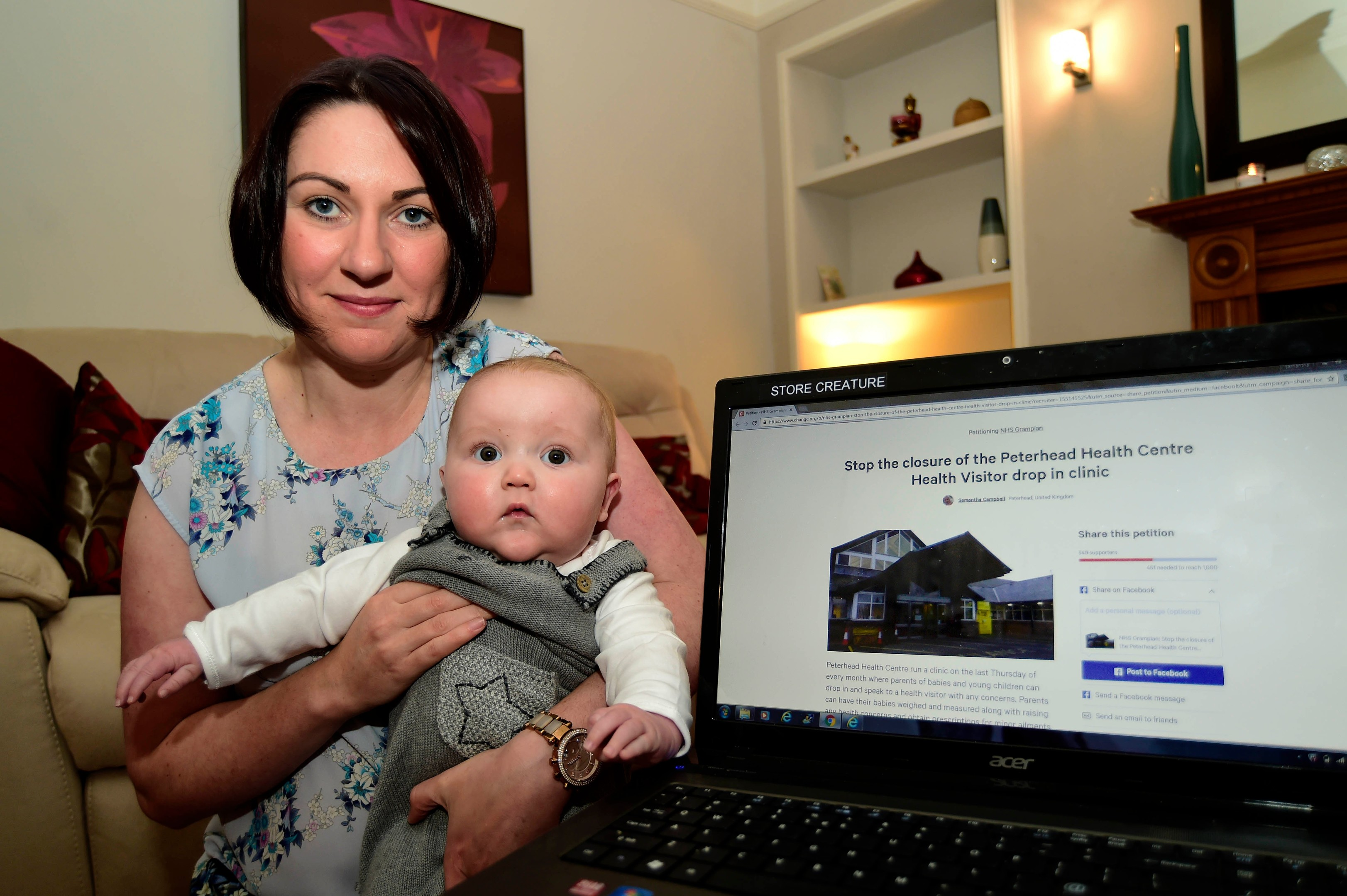 Samantha Campbell, pictured with baby Lewis, wants drop-in clinics to stay.