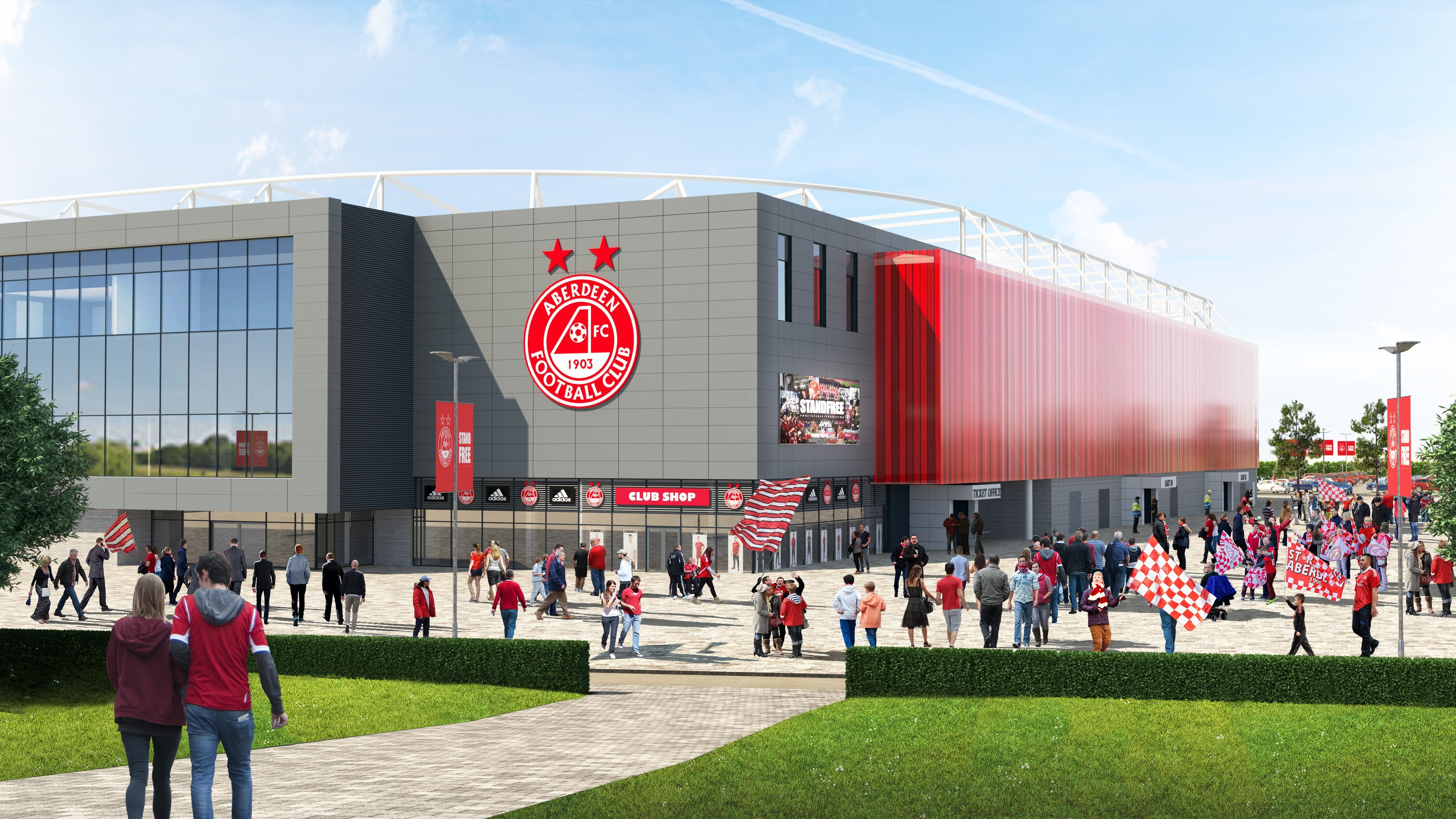 The exterior of the new Aberdeen FC stadium that is expected to cost £50m.