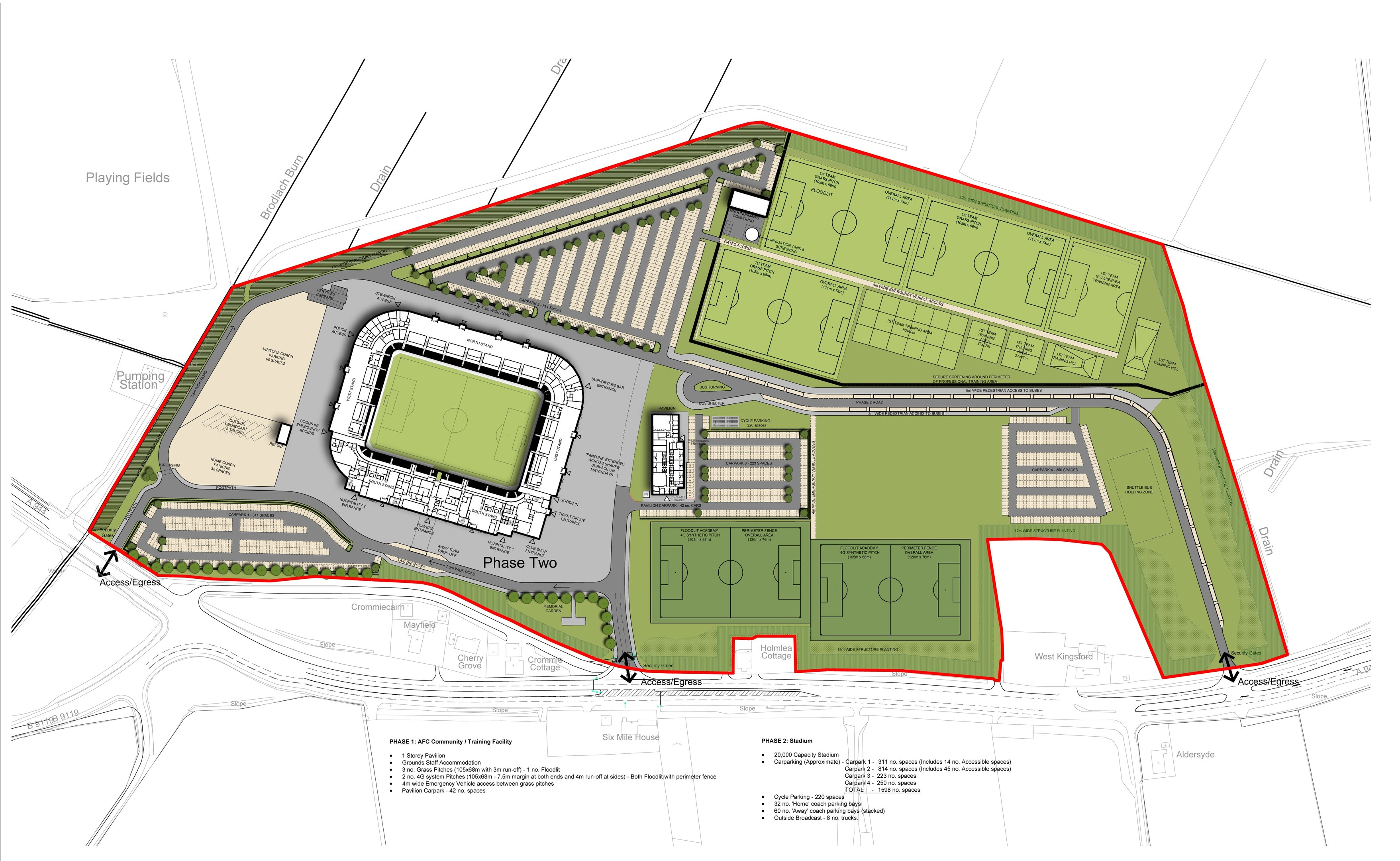 A fanzone, supporters bar and memorial garden are part of the plans.