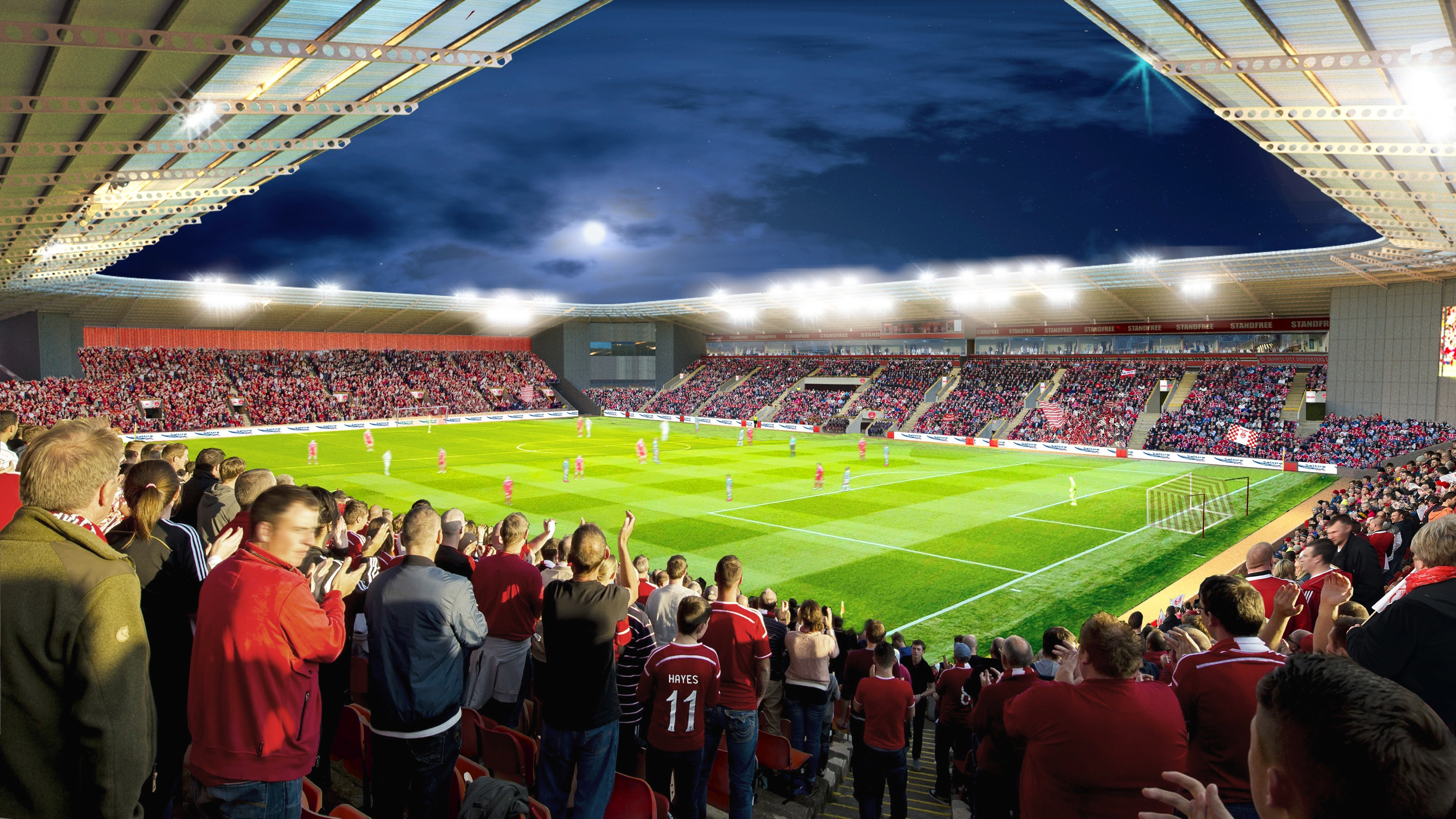 An artist's impression of the new stadium that could be built at Kingsford.