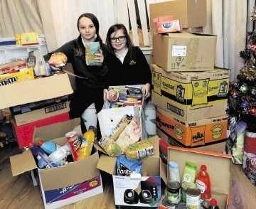 The schoolgirls sprang into action and have gathered nearly a dozen boxes.