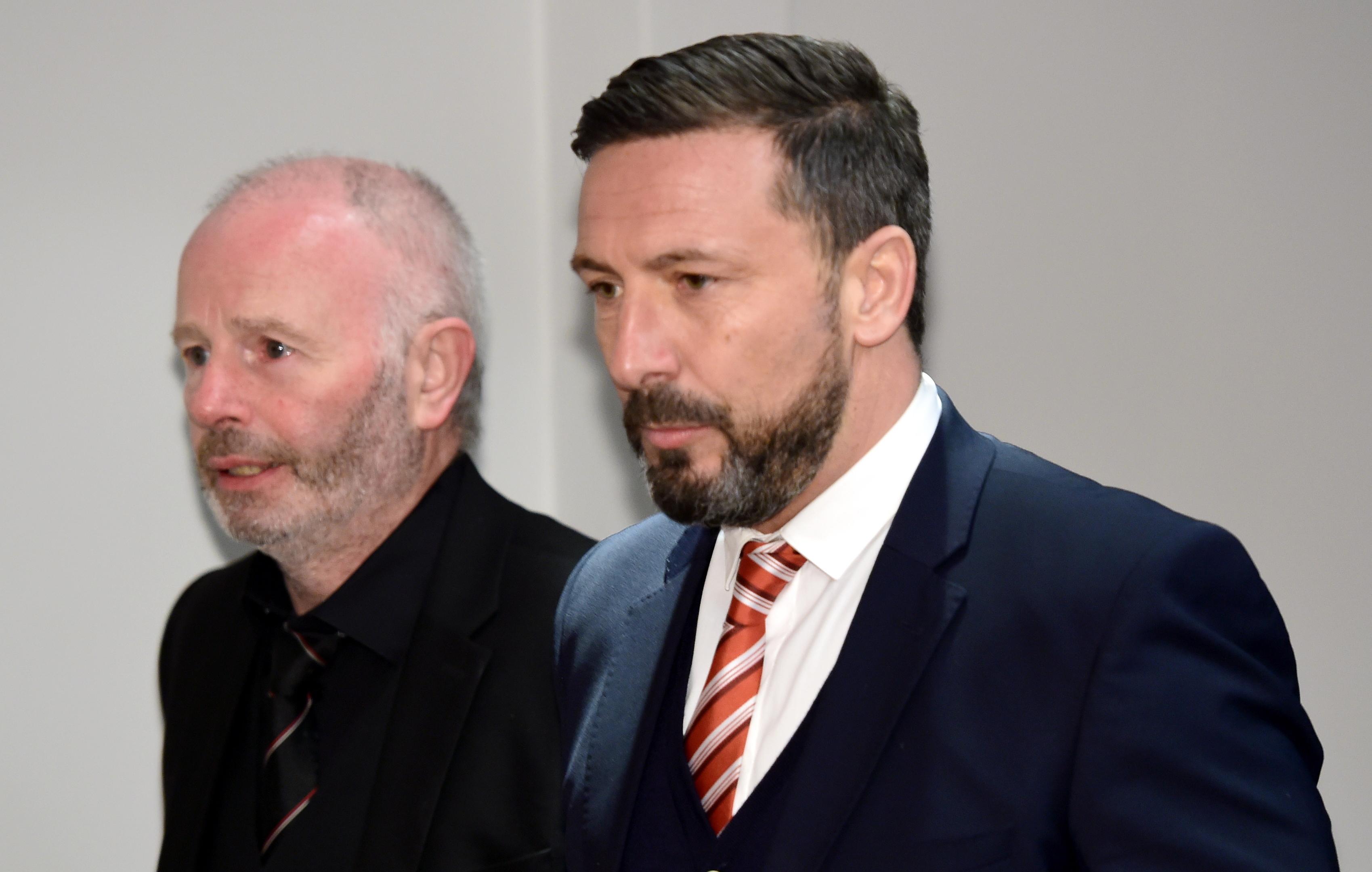 Stewart Milne, left, and Derek McInnes.