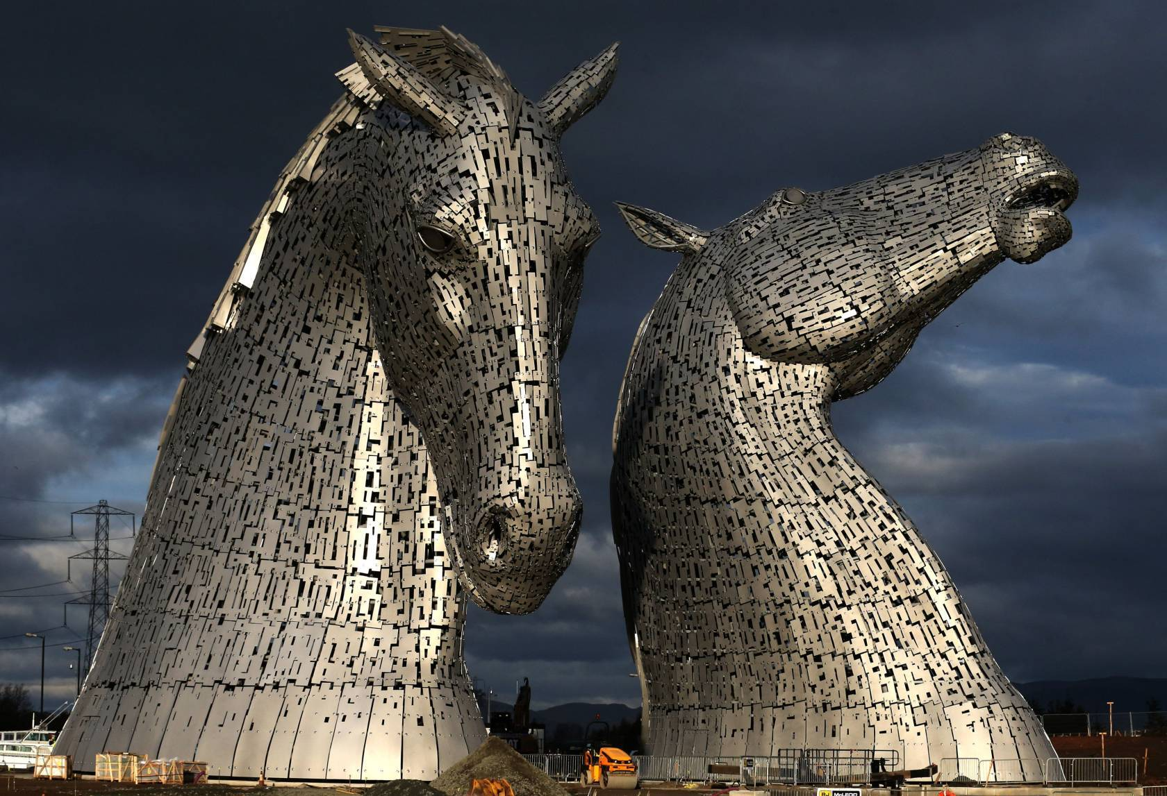 The Kelpies, a public art and visitor attraction created by artist Andy Scott, which forms a gateway to the Forth and Clyde canal at the Helix, Falkirk, Scotland on its completion.