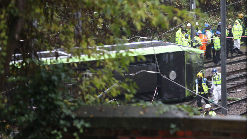 The scene after a tram overturned in Croydon killing at least seven people