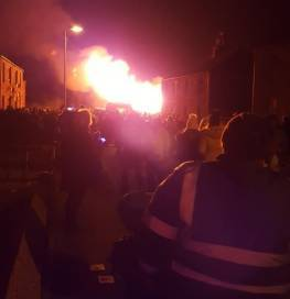 The bonfire night in Peterhead on Tuesday. Picture by Wendy Shepherd