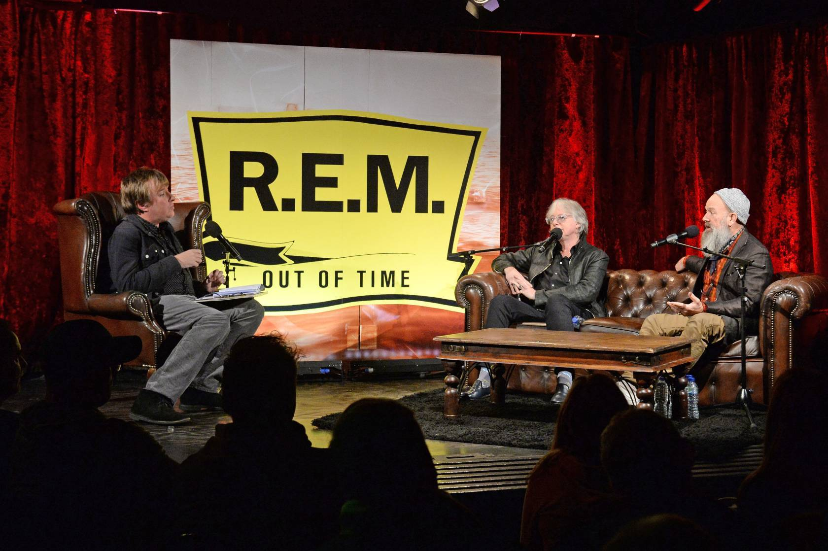 Mike Mills (centre) and Michael Stipe of R.E.M take part in a Q&A session at The Borderline in Soho, London, as they celebrate the 25th anniversary of their landmark album Out of Time.