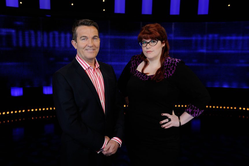 Host Bradley Walsh with chaser Jenny Ryan, who Ajay defeated.