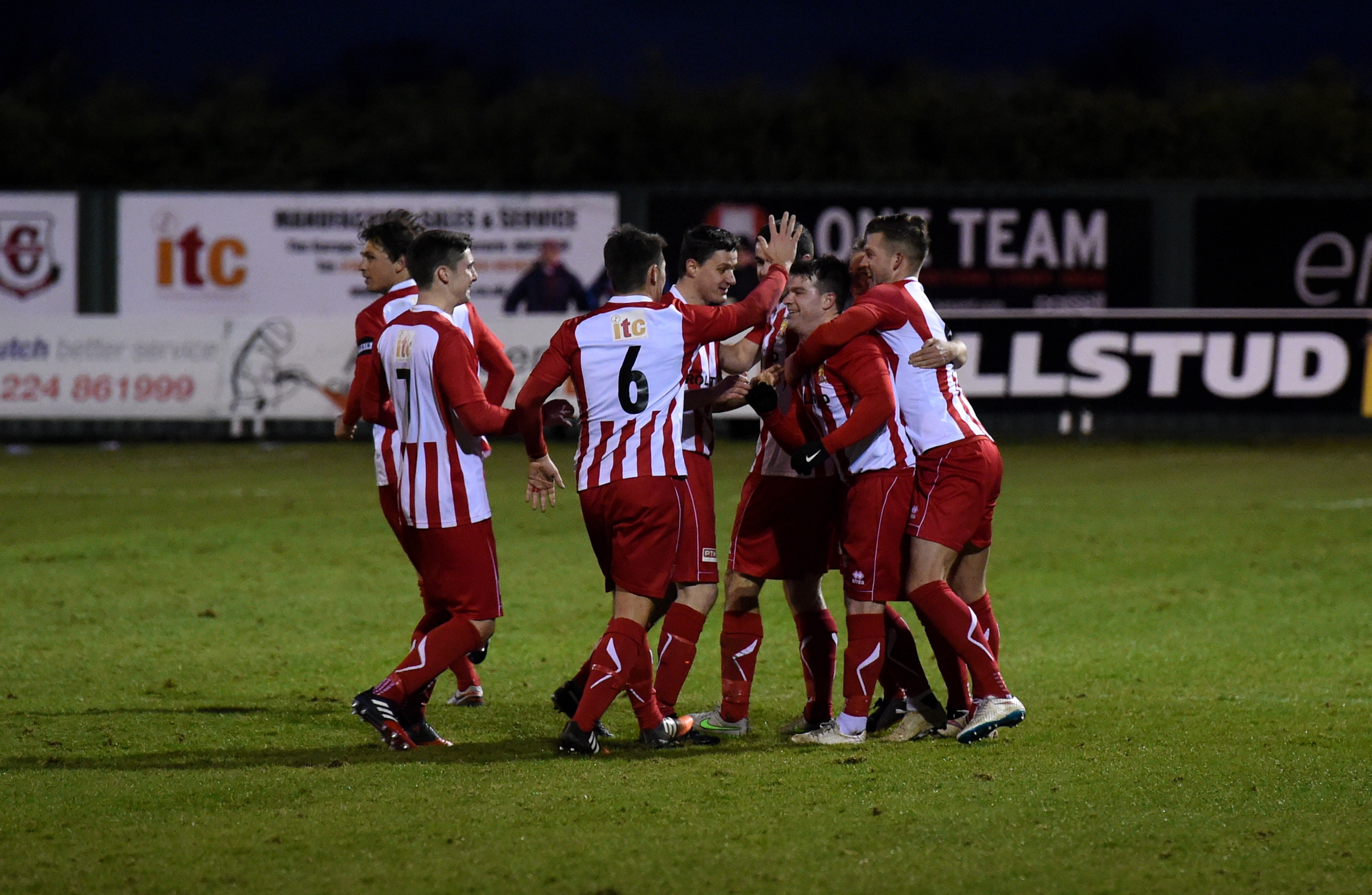 Formartine players celebrate their second  goal against Annan at Pitmedden.