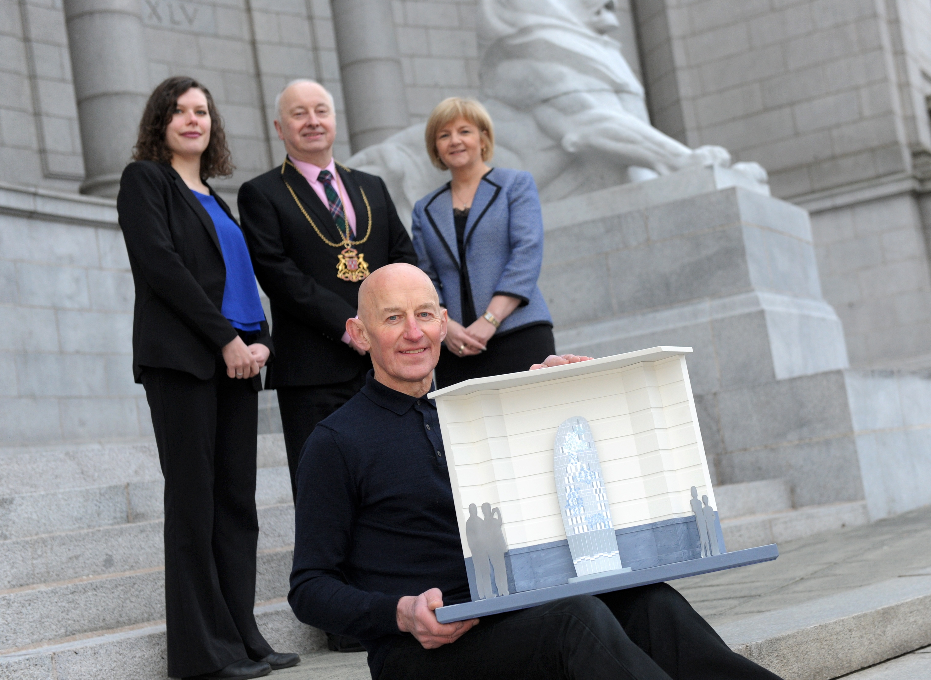 Liz Louis, Lord Provost  George Adam and Aberdeen council leader Jenny Laing with Gordon Burnett