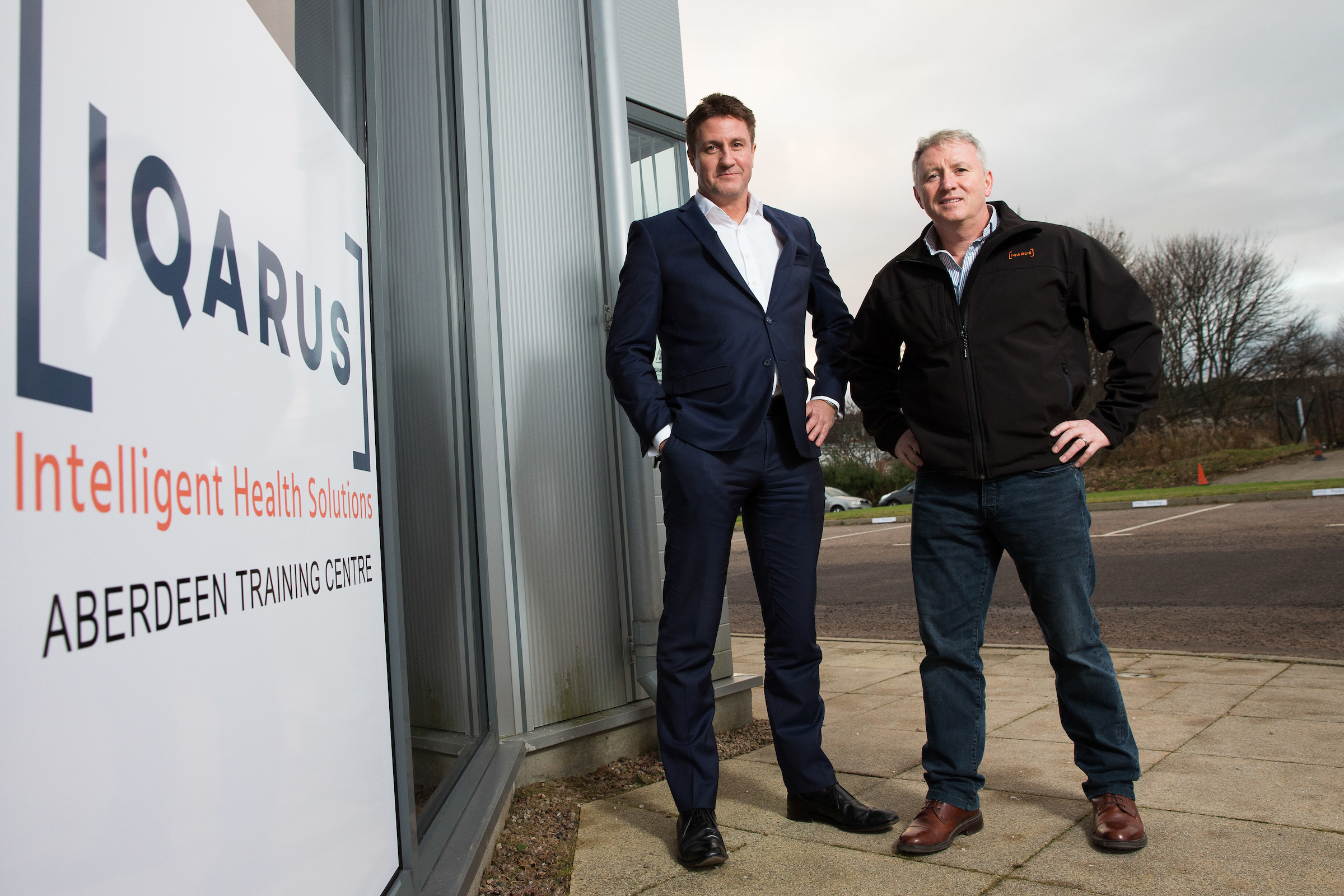 Andrew Hames, left, and Ged Healy outside the new training centre in Dyce.