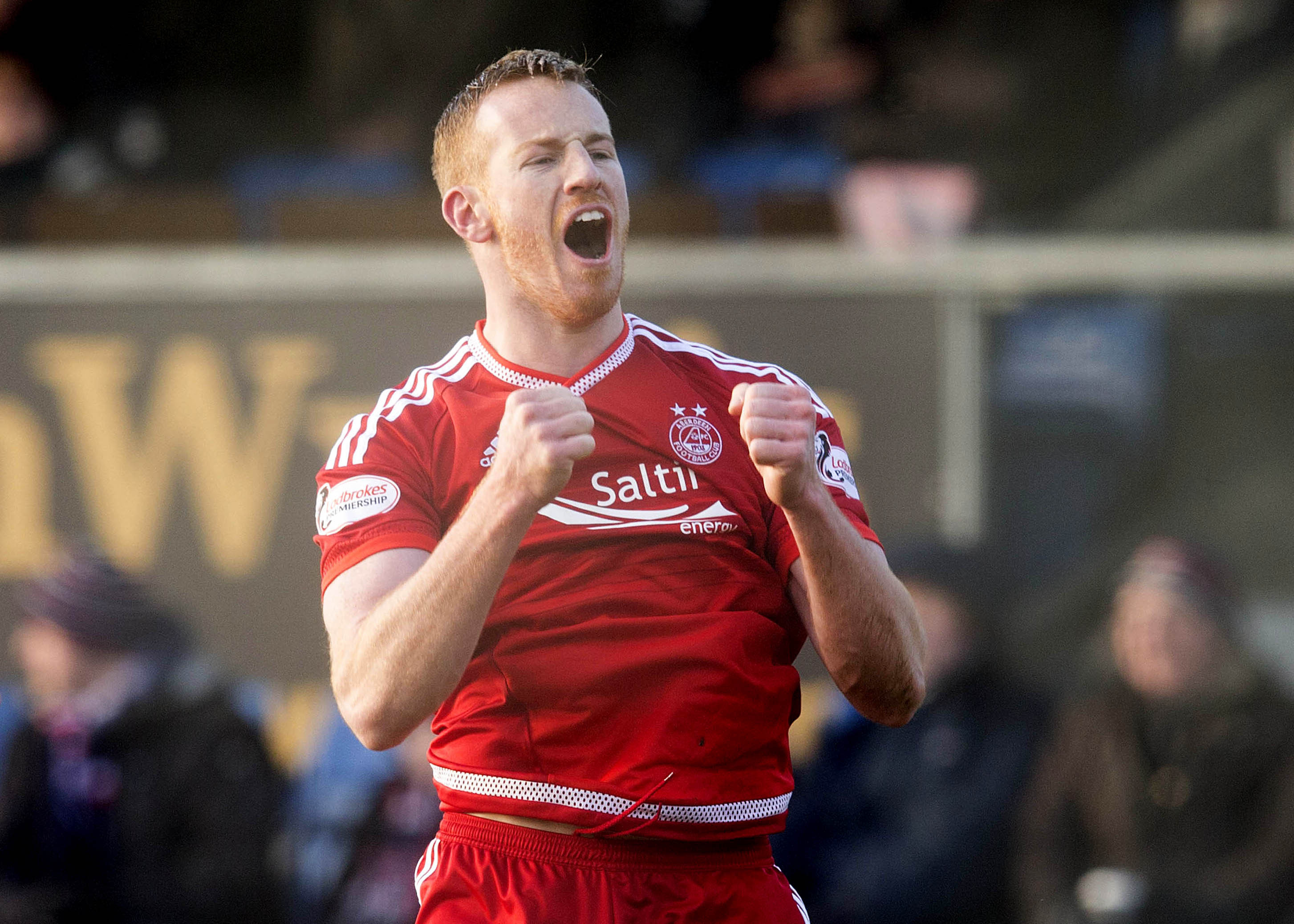 DING DONG BATTLE:  Aberdeen  striker Adam Rooney celebrates scoring in the 3-2 victory over Ross County   at Dingwall in January.
