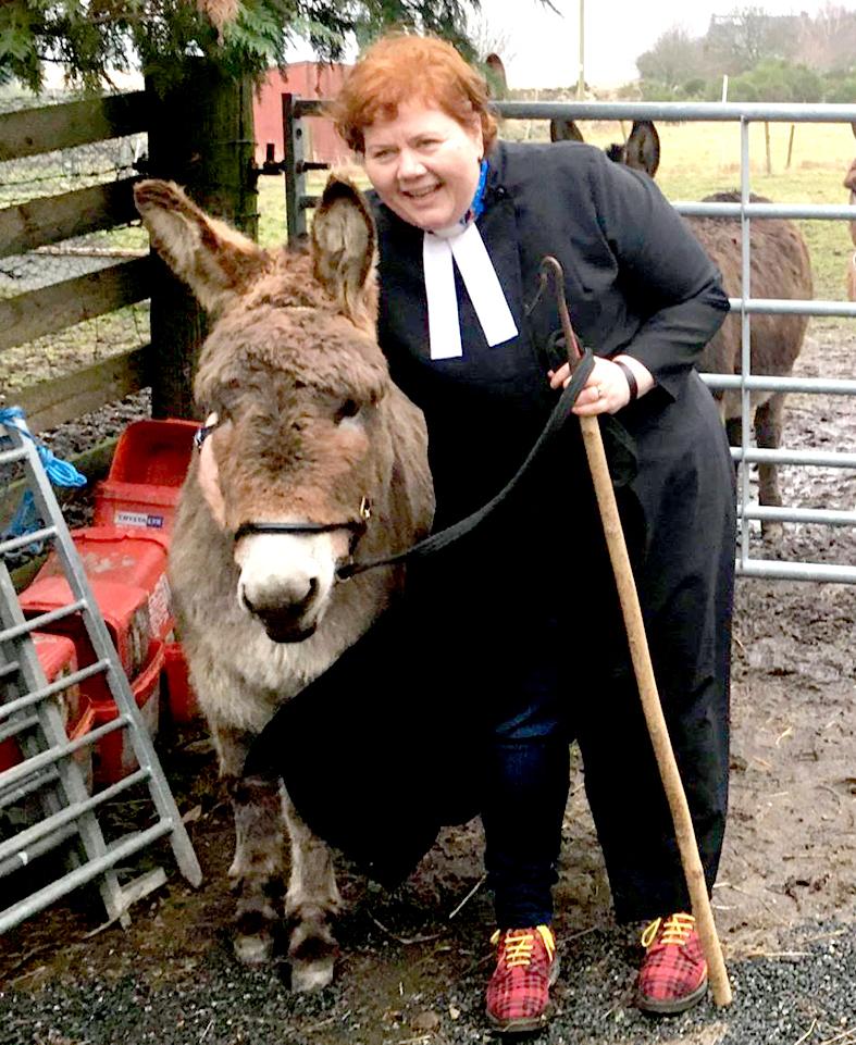 Rev Elspeth McKay with Jason the donkey.