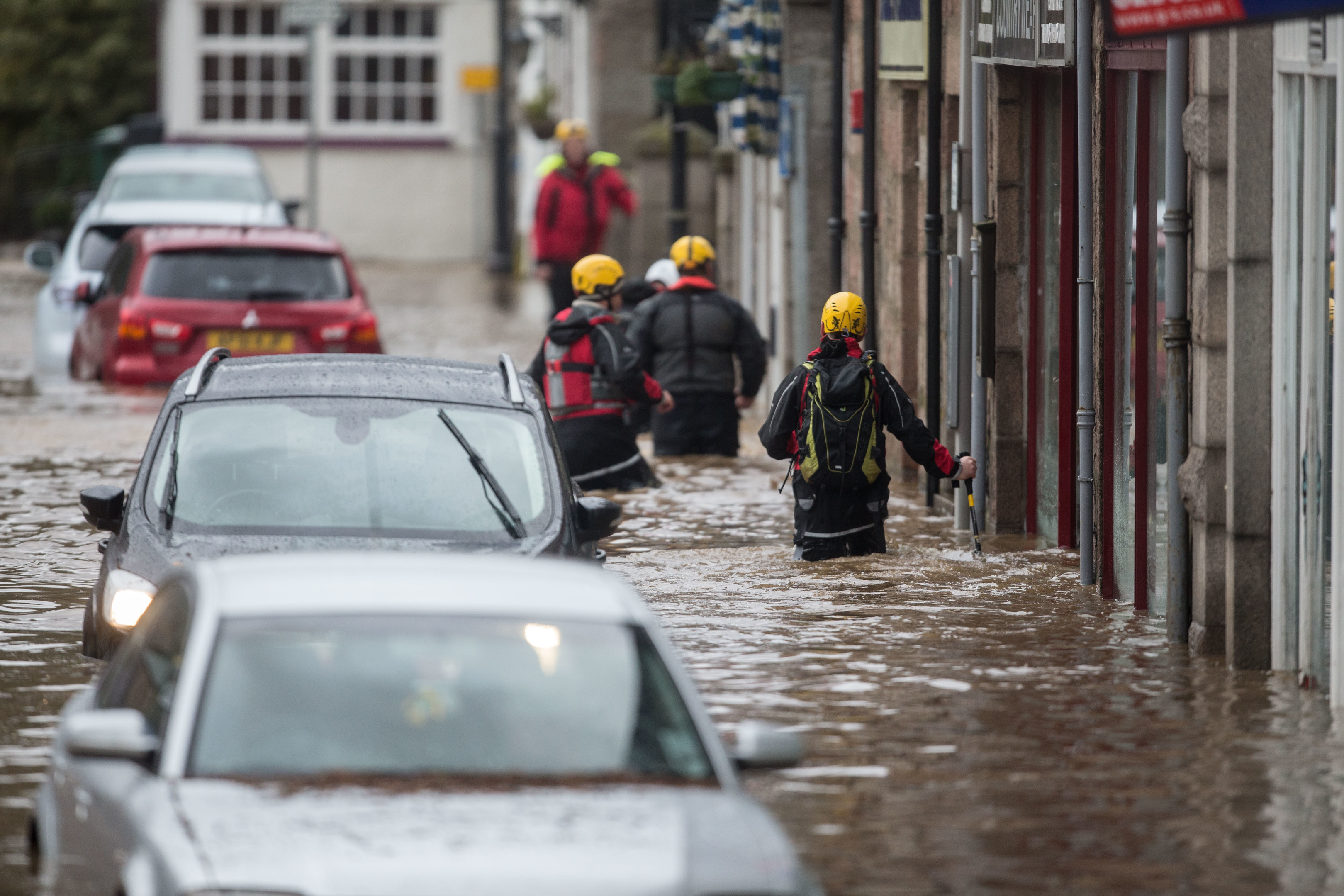 The streets of Ballater were filled with flood water.