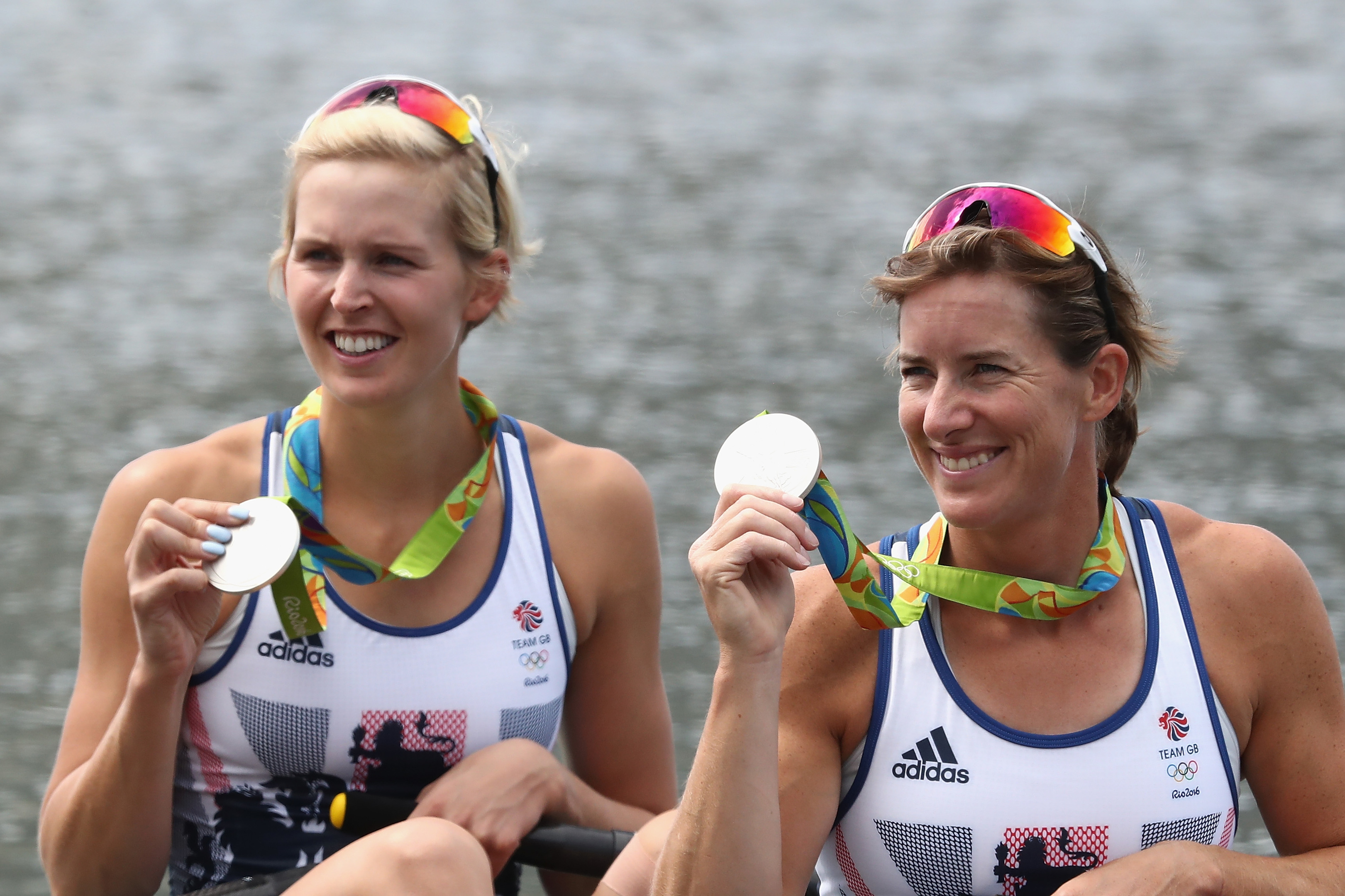 hard work:  Katherine Grainger, right, and  Victoria Thornley with their silver medals at the Rio Olympics.