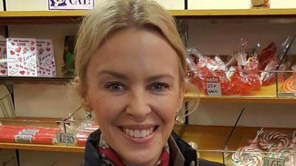 Kylie Minogue surprised locals in an Aberdeenshire village when she nipped into the sweetie shop for a bag of soor plooms