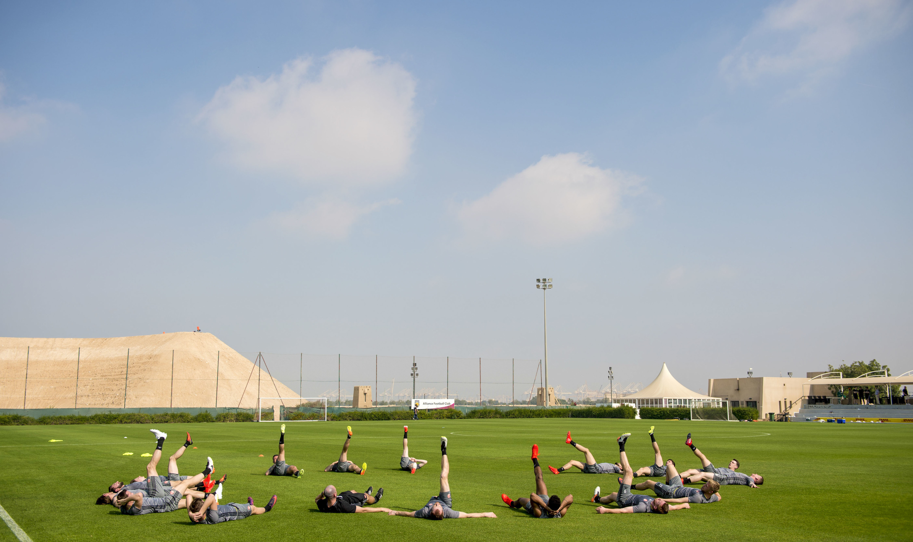 Aberdeen players at the Jebel Ali Centre of Excellence.