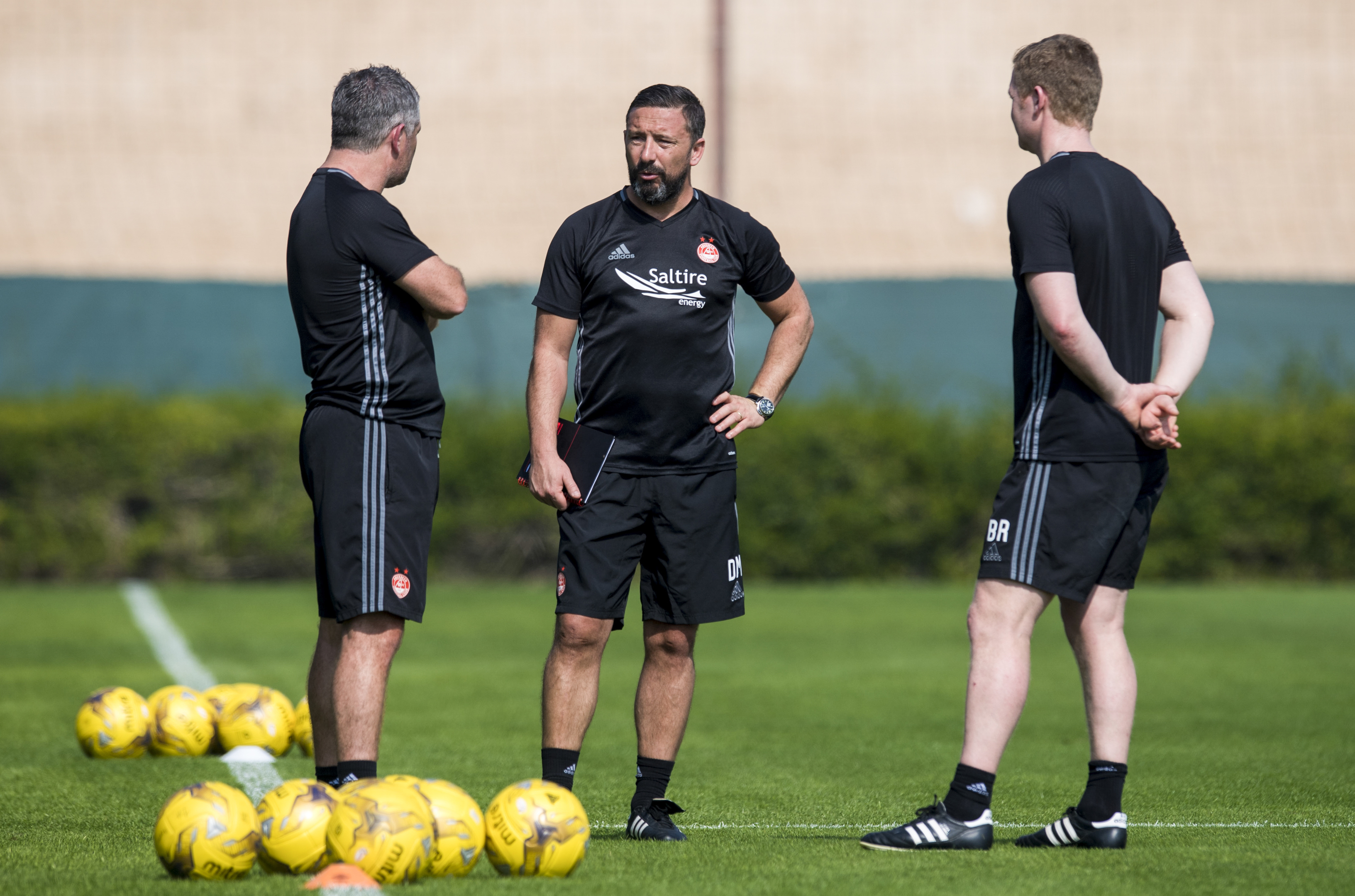 Derek McInnes, centre, with Tony Docherty, left, and Barry Robson.