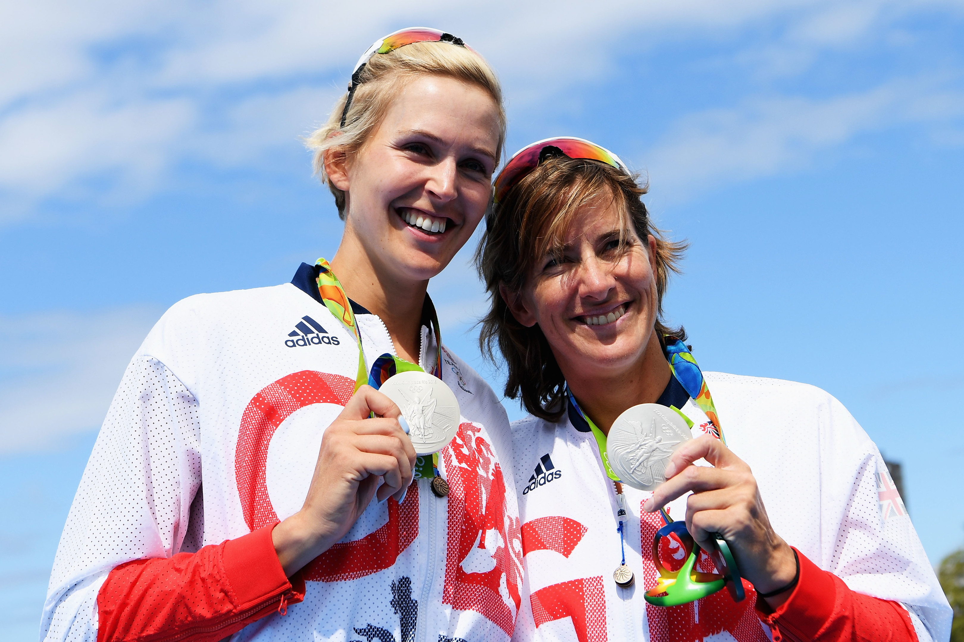 Victoria Thornley of Great Britain and Katherine Grainger of Great Britain celebrate with their silver medals after finishing second in the Women's Double Sculls Final A on Day 6 of the 2016 Rio Olympics at Lagoa Stadium on August 11, 2016 in Rio de Janeiro, Brazil.