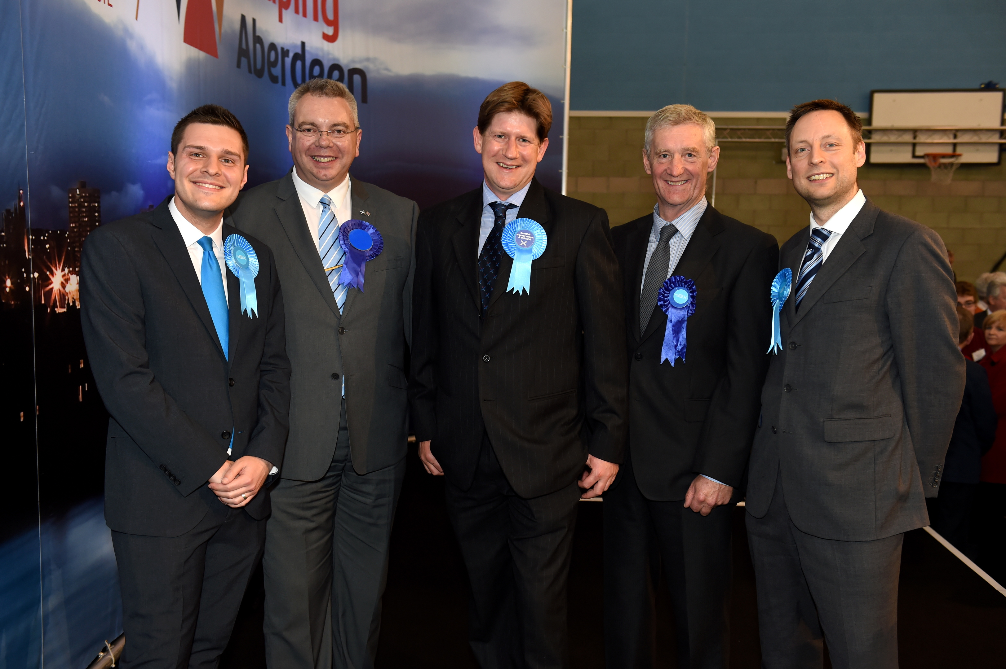 votes: From left, Ross Thomson, the late Alex Johnstone, Alexander Burnett, Peter Chapman and Liam Kerr at the Scottish Parliament election count in May.