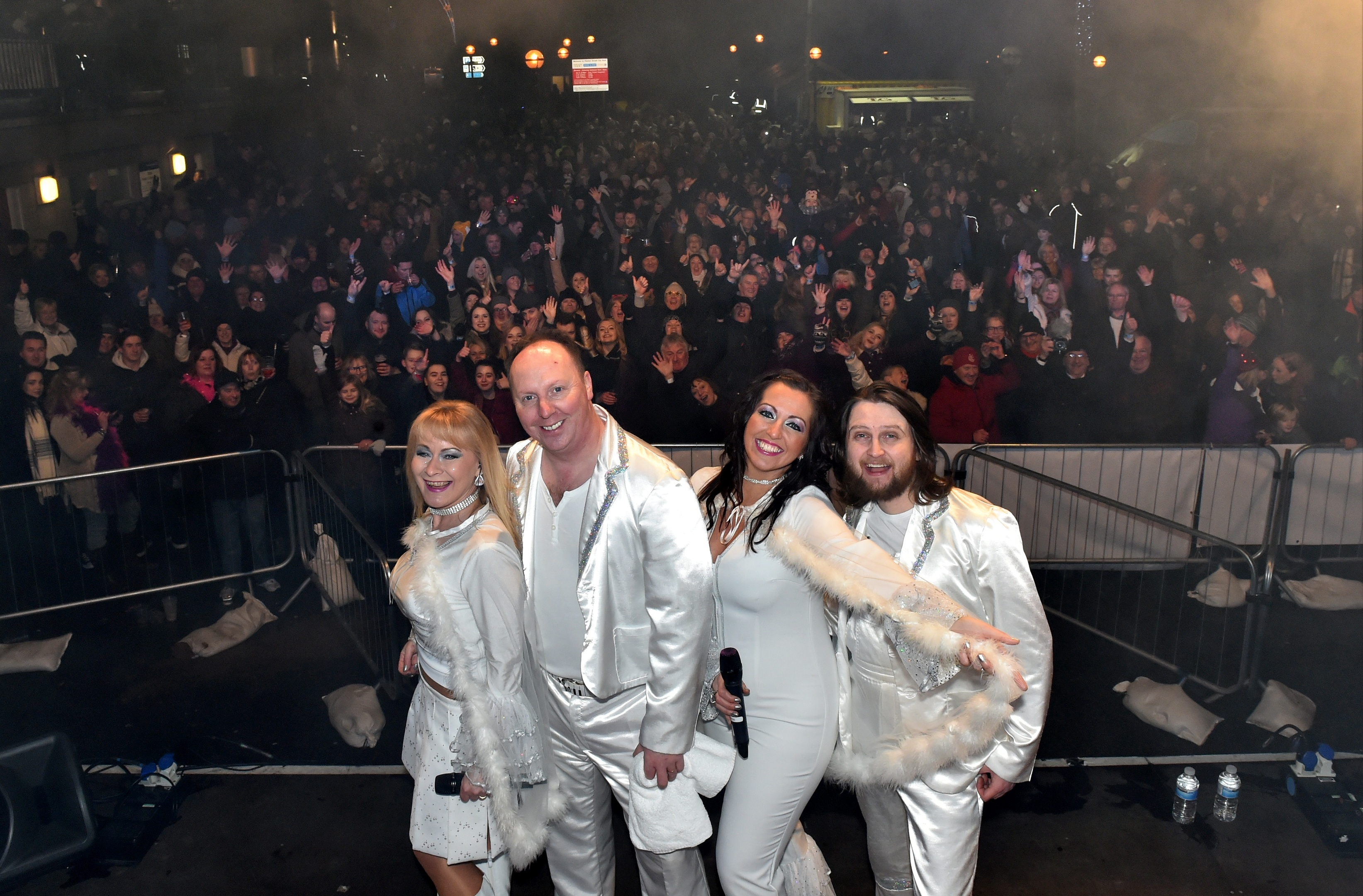Act Abbamania performed at Ellon's Gig at the Brig. Inset, the fireworks.