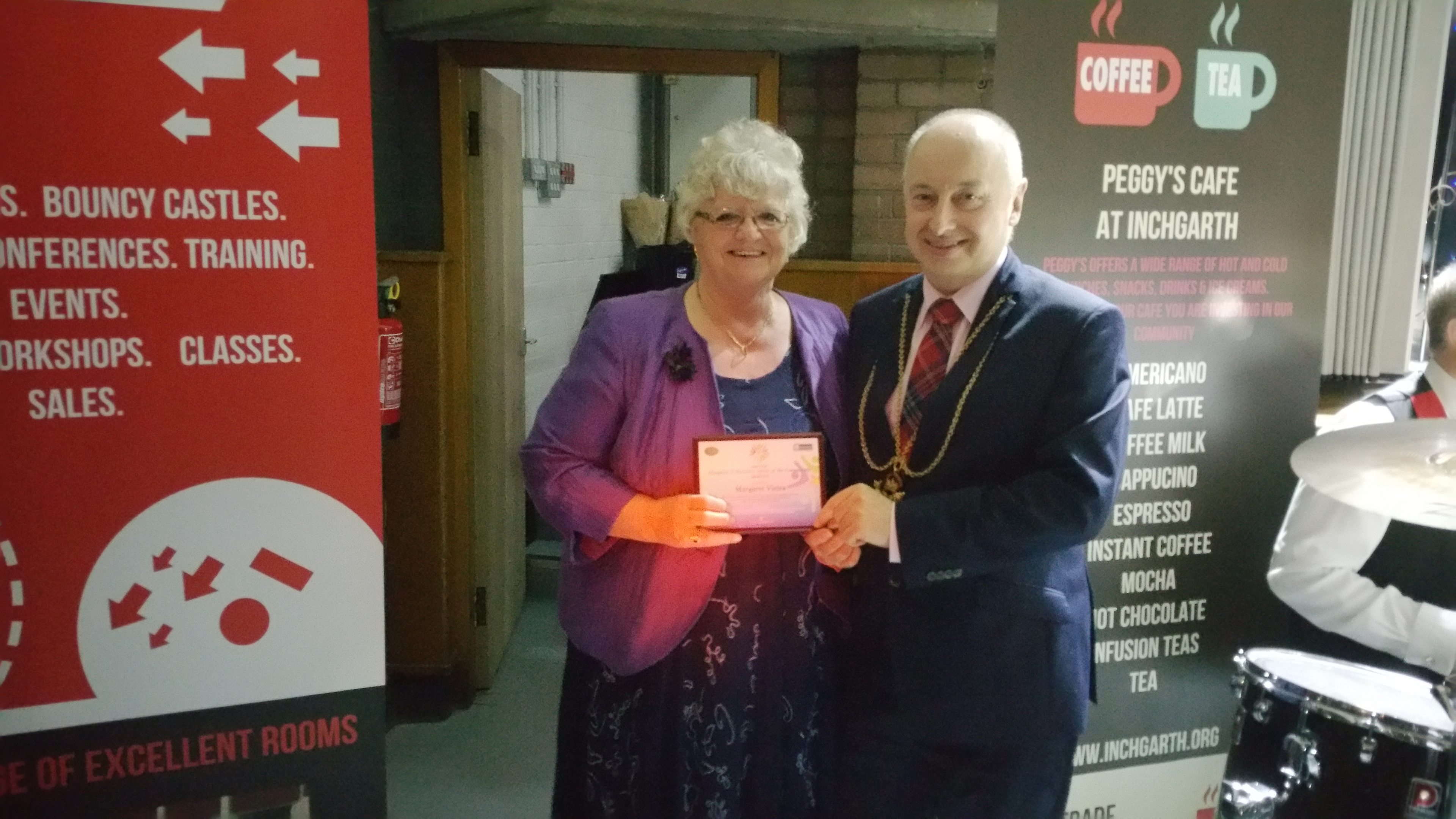Margaret Viera being honoured for her service to charity, the arts and the community,  with Lord Provost George Adam at last year's event.
