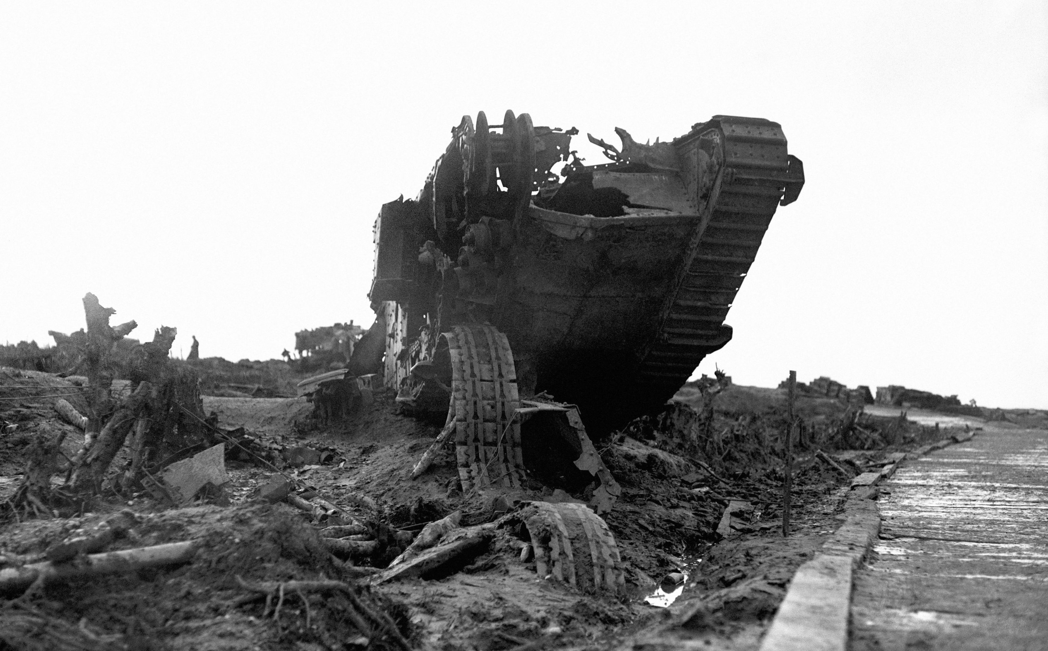 The wreckage of a British tank beside the Menin Road near Ypres.
