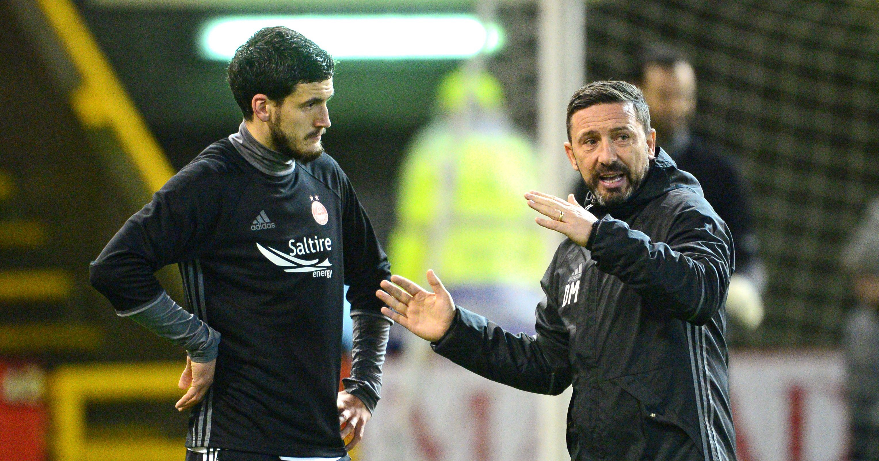 Aberdeen manager Derek McInnes, right, and Anthony O'Connor.