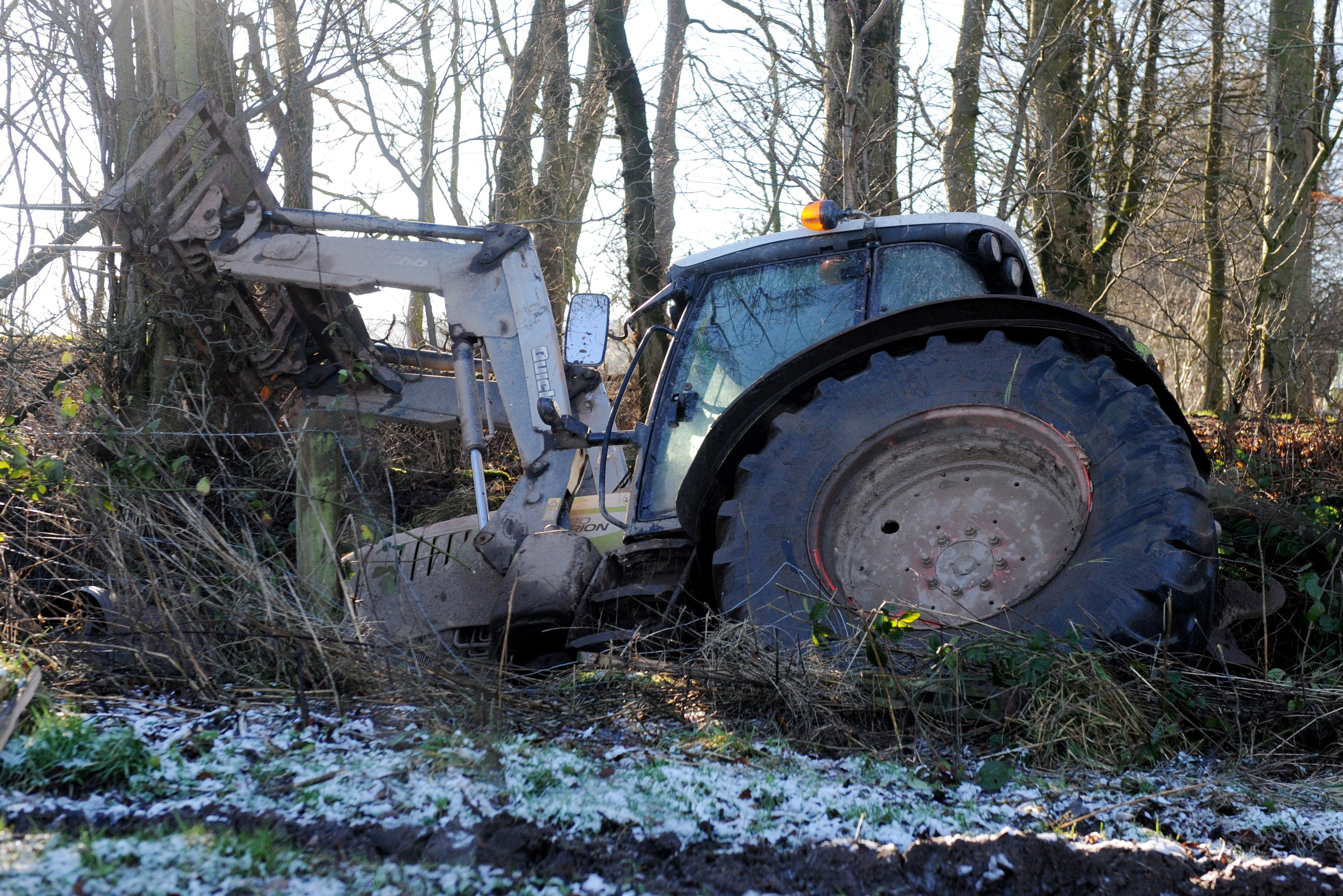 The badly-damaged tractor on Glenbervie Road.