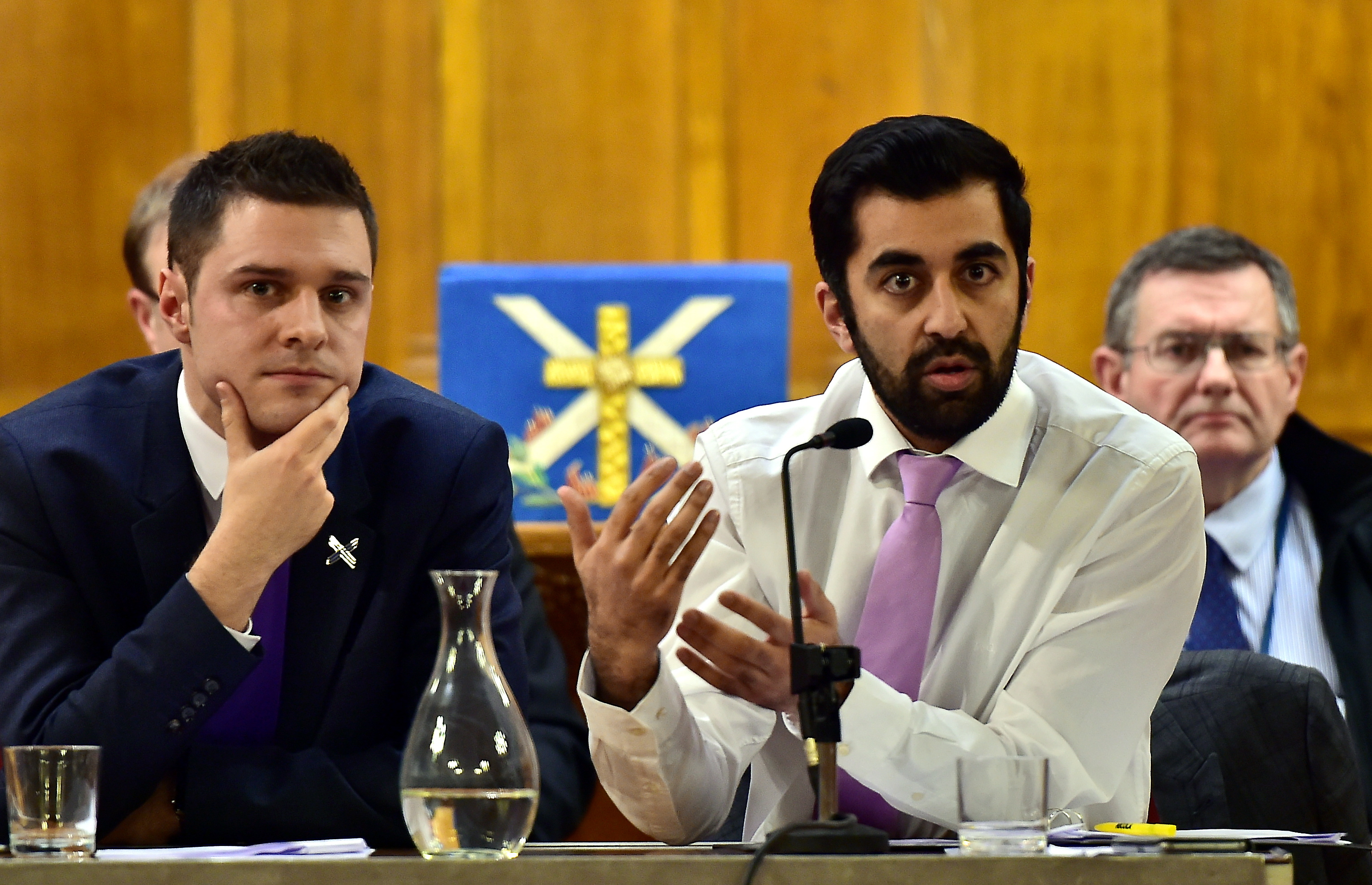 Transport Minister Humza Yousaf with MSP Ross Thomson.