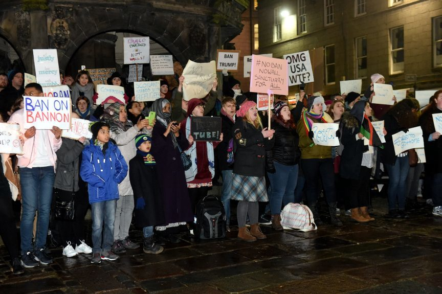 Trump Protest at the Castlegate, Aberdeen. 30/01/17 Picture by HEATHER FOWLIE