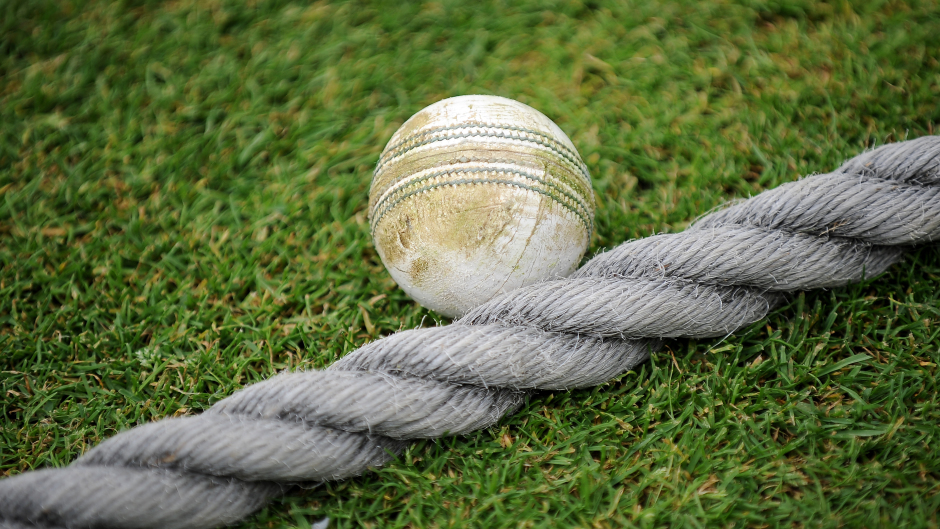 A general view of a cricket ball on the boundary