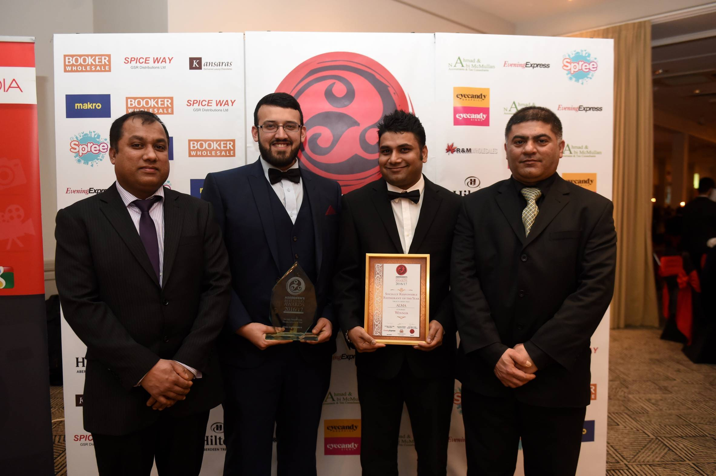 Pictured is the winner of The Socially Responsible Restaurant, Alma. From left, Islam Fozul, Nazrul Islam Uddin, Parvez Akhtar and Irfan Guppi.