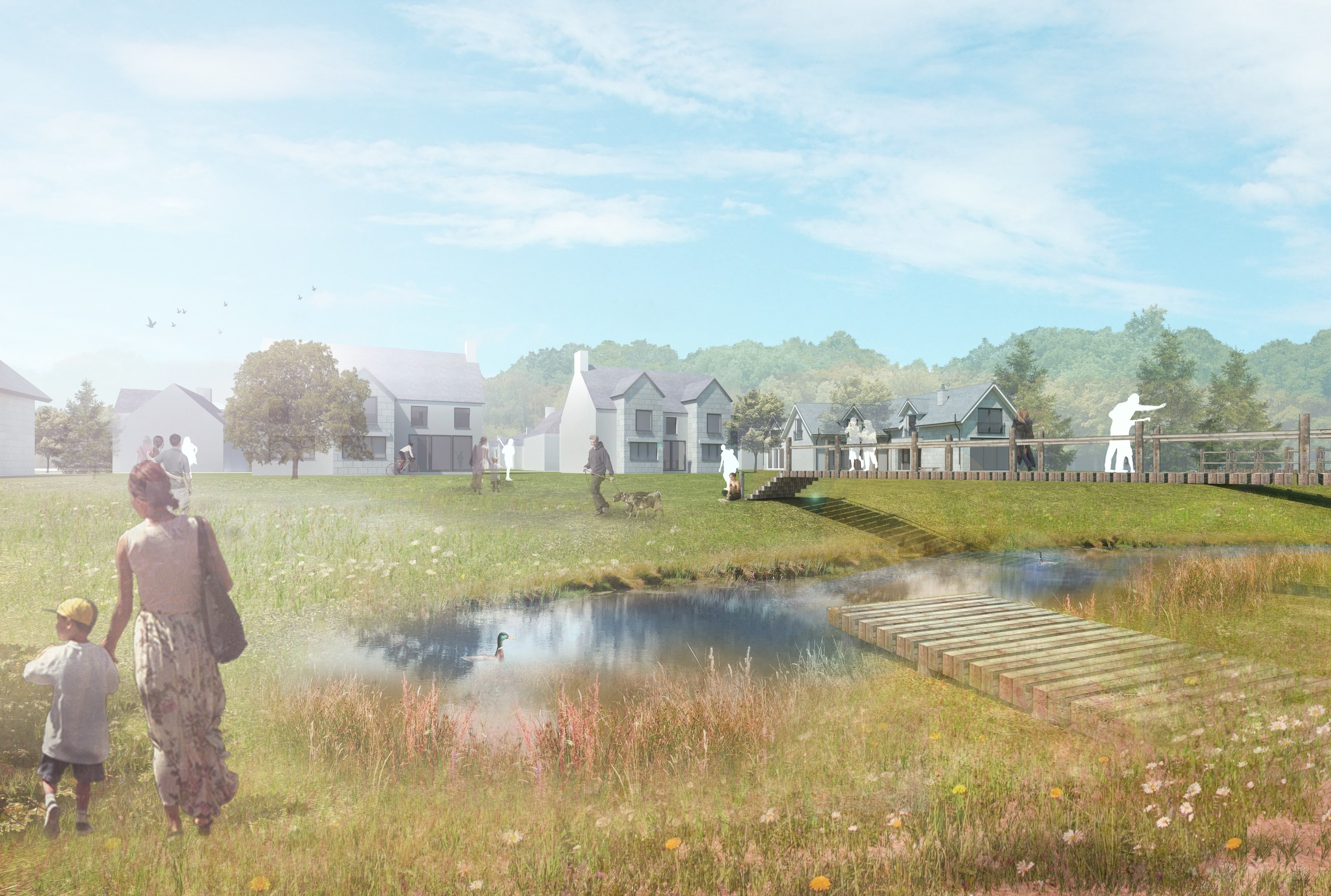 An artist's impression of how Kincluny Village would have looked.