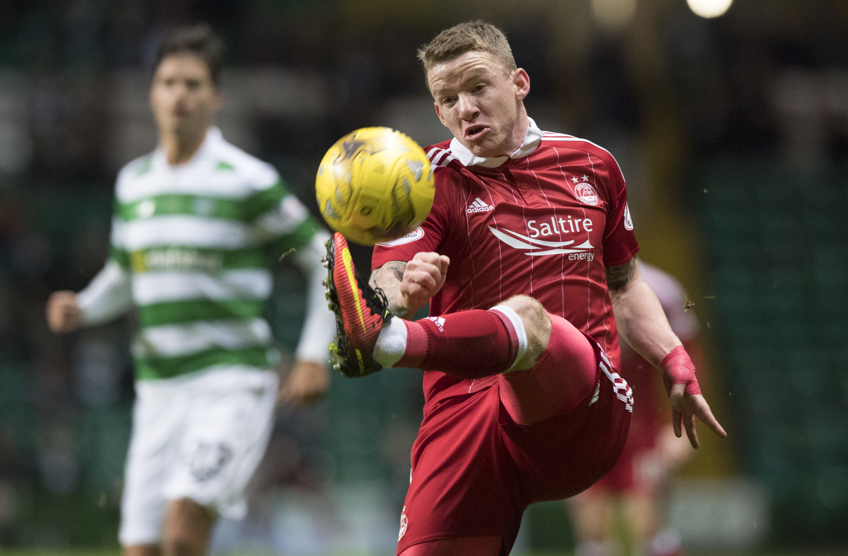 Jonny Hayes in action against Celtic.
