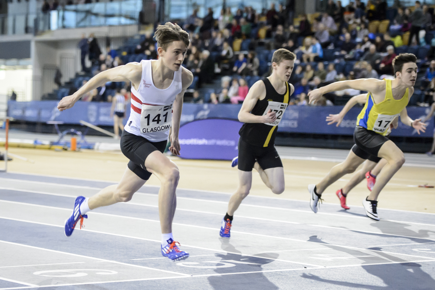 Robbie Farquhar, left, impressed at the   Scottish Under-17 Indoor Championships in  Glasgow.   picture by bobby gavin