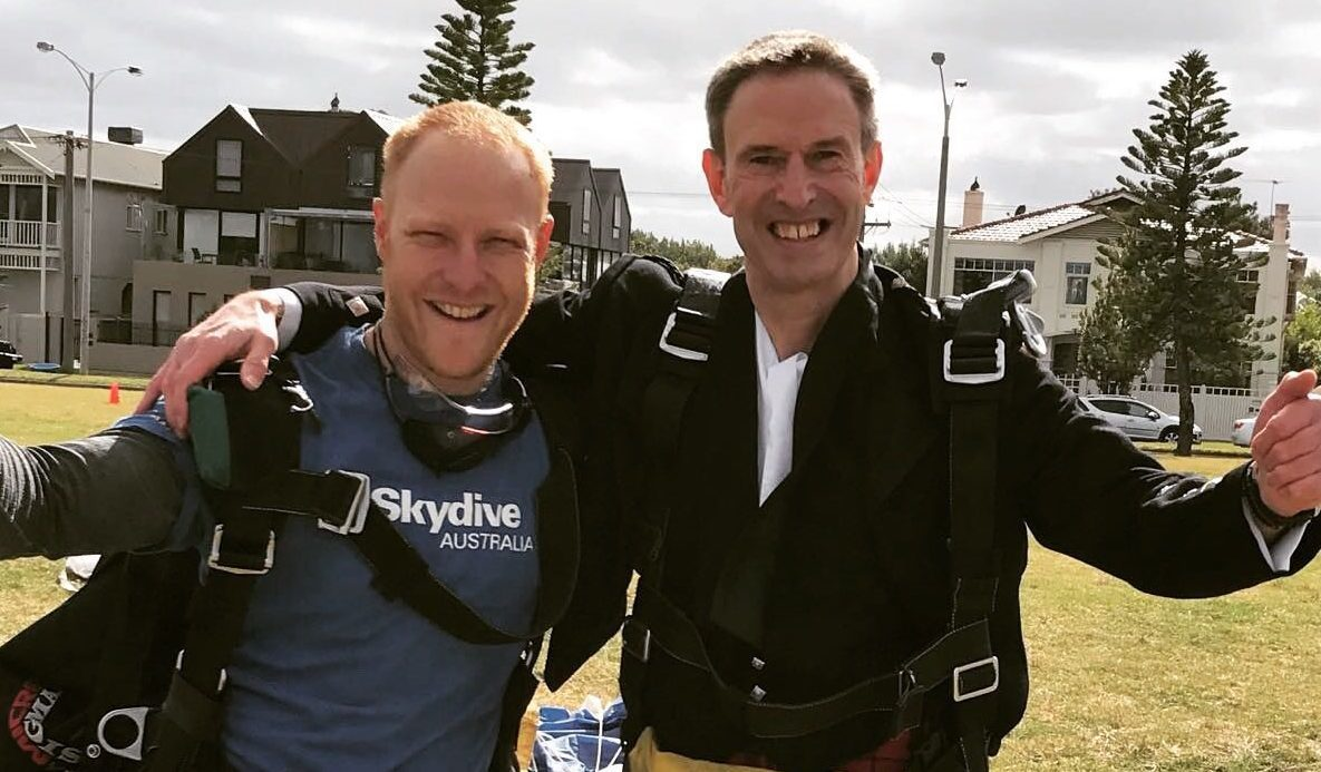 Gary Leslie, right, is skydiving throughout Australia to raise money.