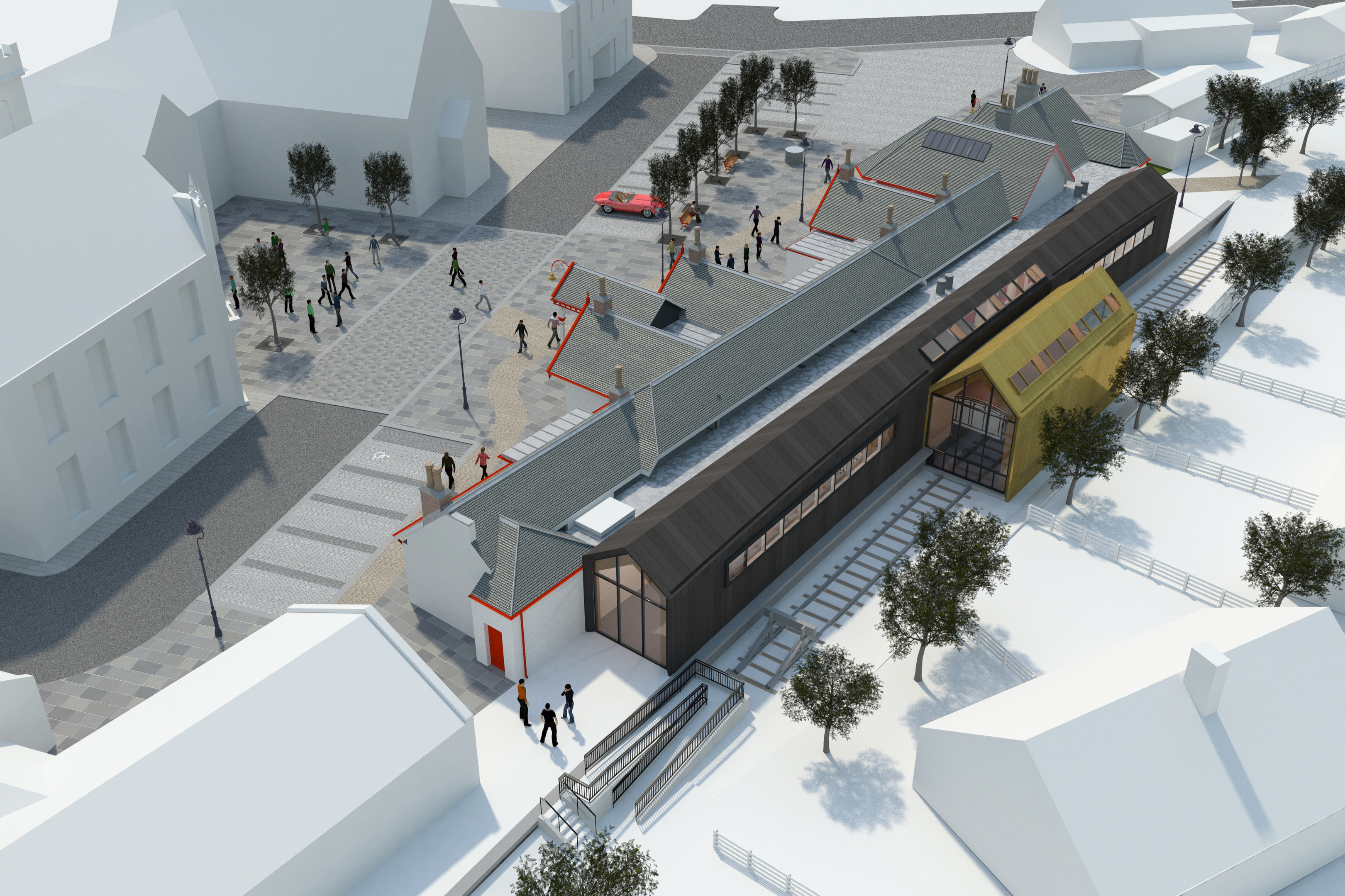 NEW LOOK:Artist's impressions of the new station. images courtesy of halliday fraser munro