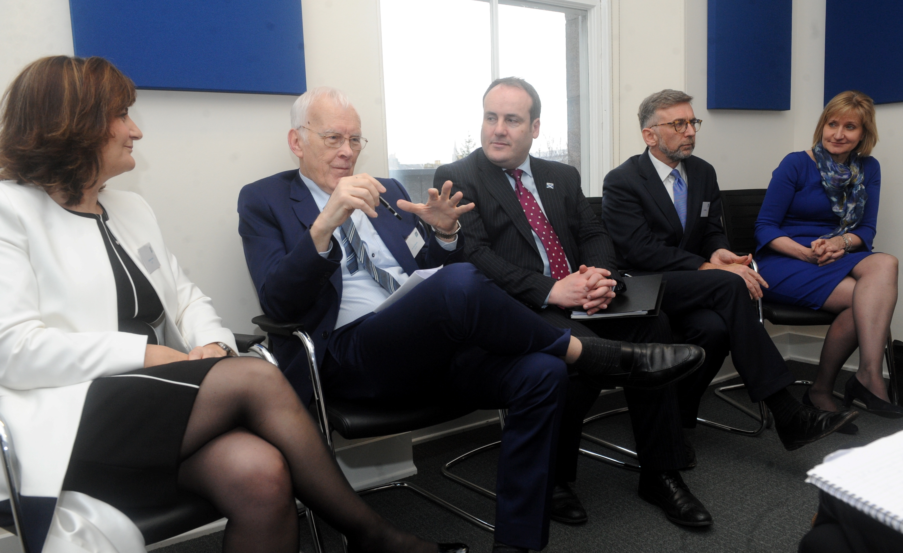 From left, chief executive officer of the centre Colette Cohen, chairman of the centre Sir Ian Wood, and Paul Whitehouse MSP.