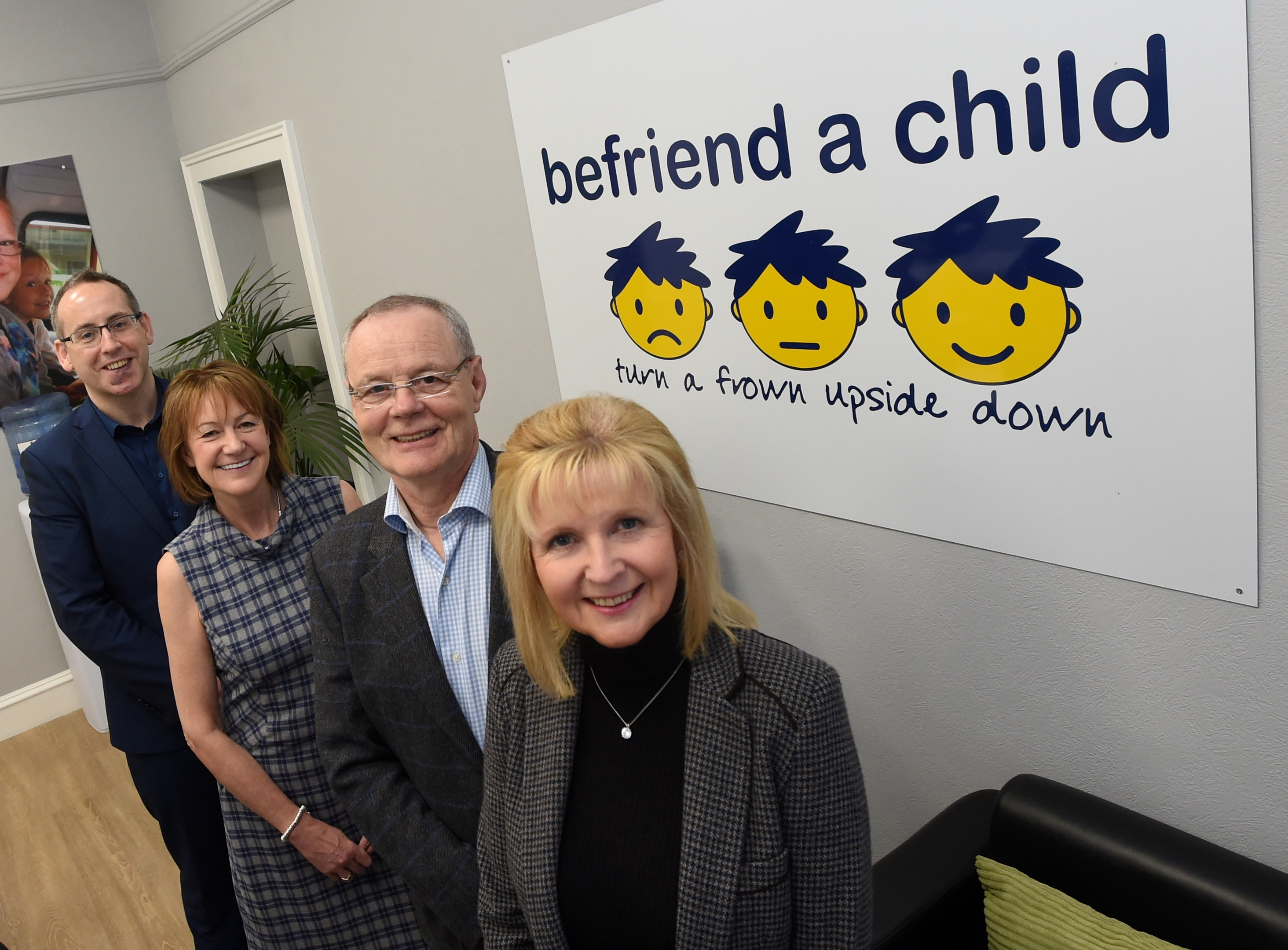 Mentoring:  Richard Stewart (Head of Marketing, Fundraising and External affairs at Befriend a Child), Jackie Hothersall (Chief Executive Officer of Befriend a Child), Bill Budge and Lorraine Budge. The Budge's have helped establish a mentoring service which Befriend a Child will partner with schools  to give S3 and S4 pupils mentoring.