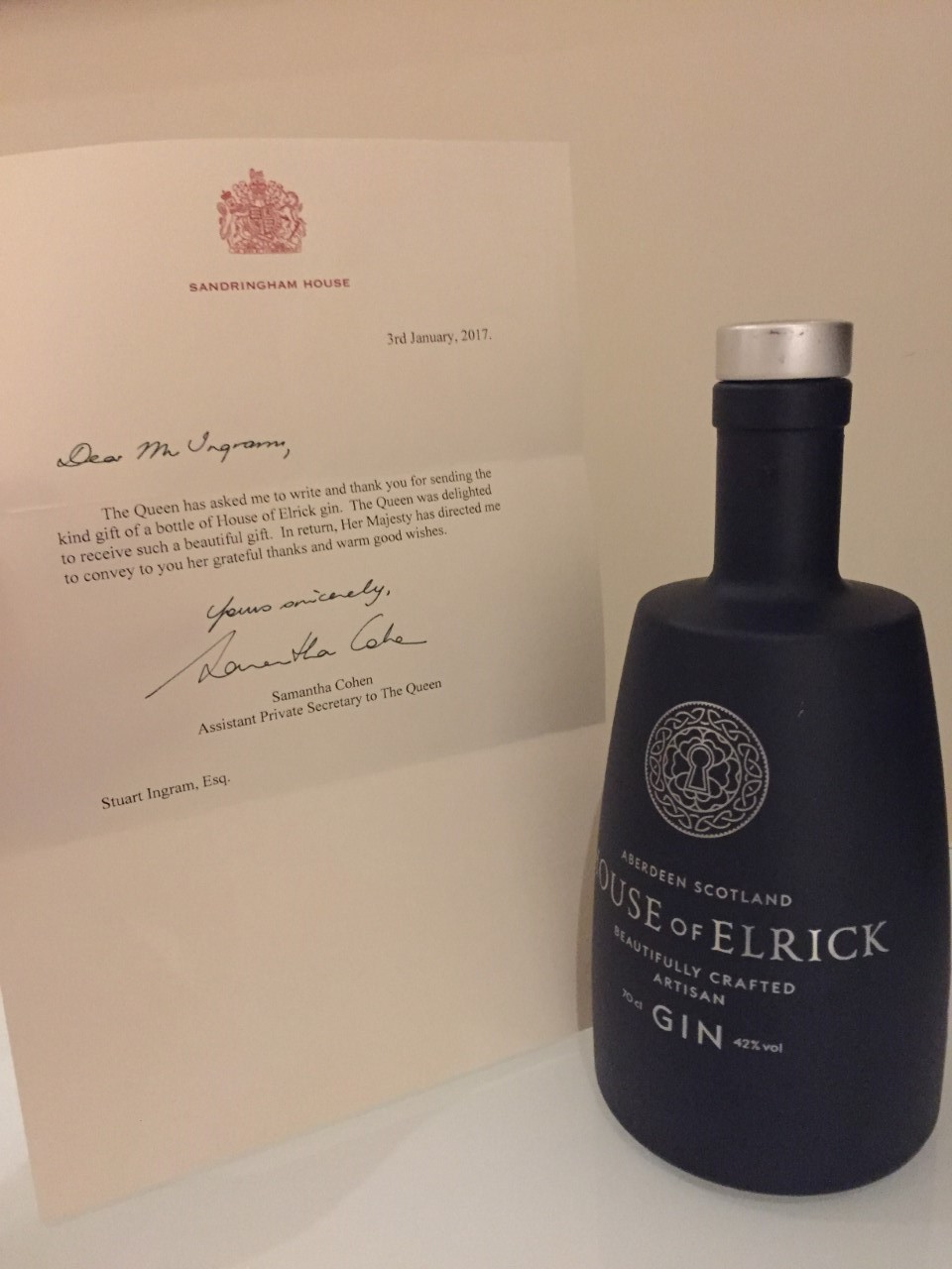 Impressed:  The Queen wrote a letter of thanks to the gin firm.