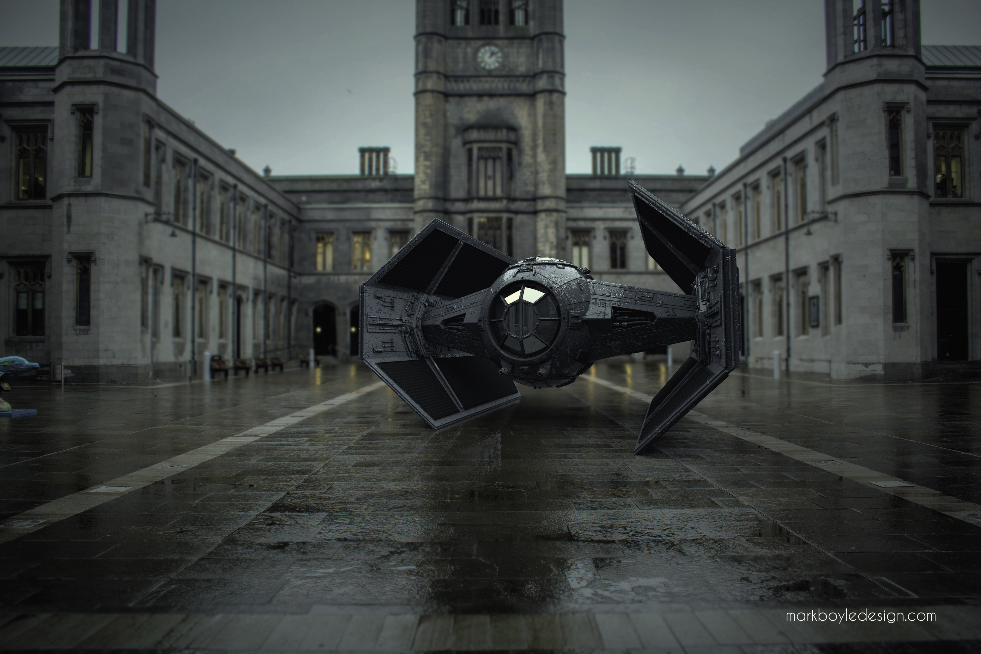 FILM ICON: A TIE fighter in the Marischal College quad.