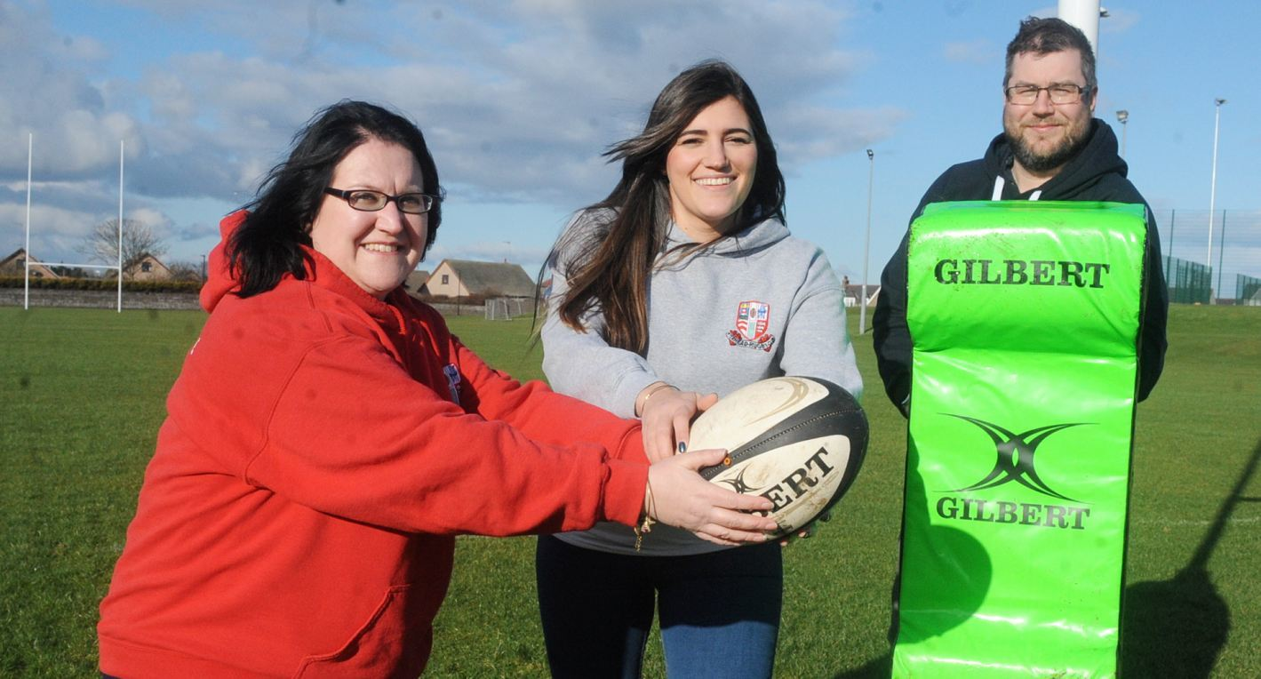 Ann Ruthven, Laura Cook and Mike Reeves of Peterhead Rugby Club.
