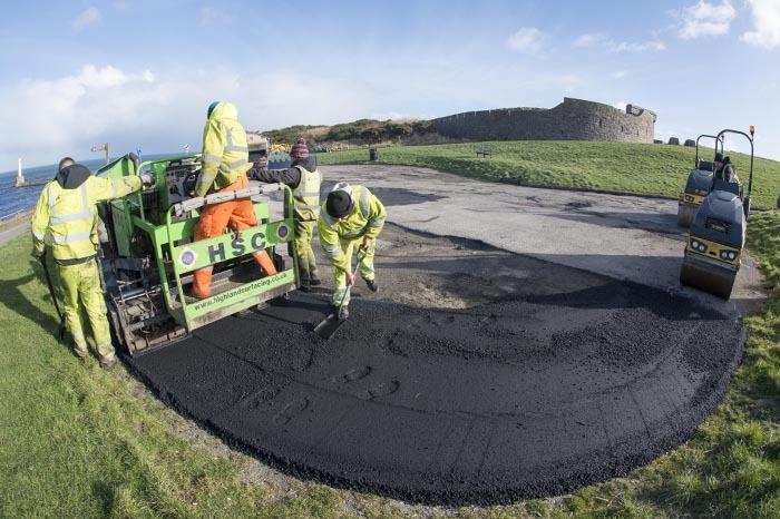 Pothole repairs began today.