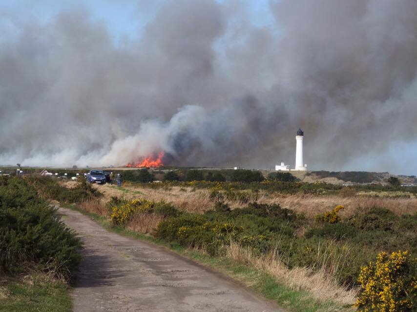 The fire first broke out on Tuesday at Covesea Links. Picture by Lee Thompson.