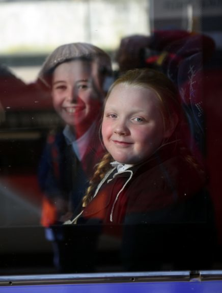 Pictured are pupils from Kingsford School, Mastrick, Aberdeen on the train as part of a re-enactment of the World War 2 evacuations. The pupils left the school and took an old style bus to the train station where they then got the train to Stonehaven. Picture by DARRELL BENNS  Pictured on 27/03/2017