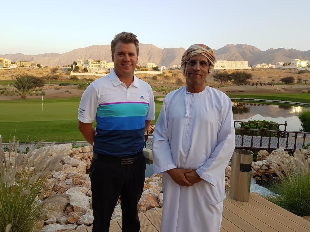 Team manager Steven Troup, left, with Oman golf committee chairman Mundhir al Barwani.