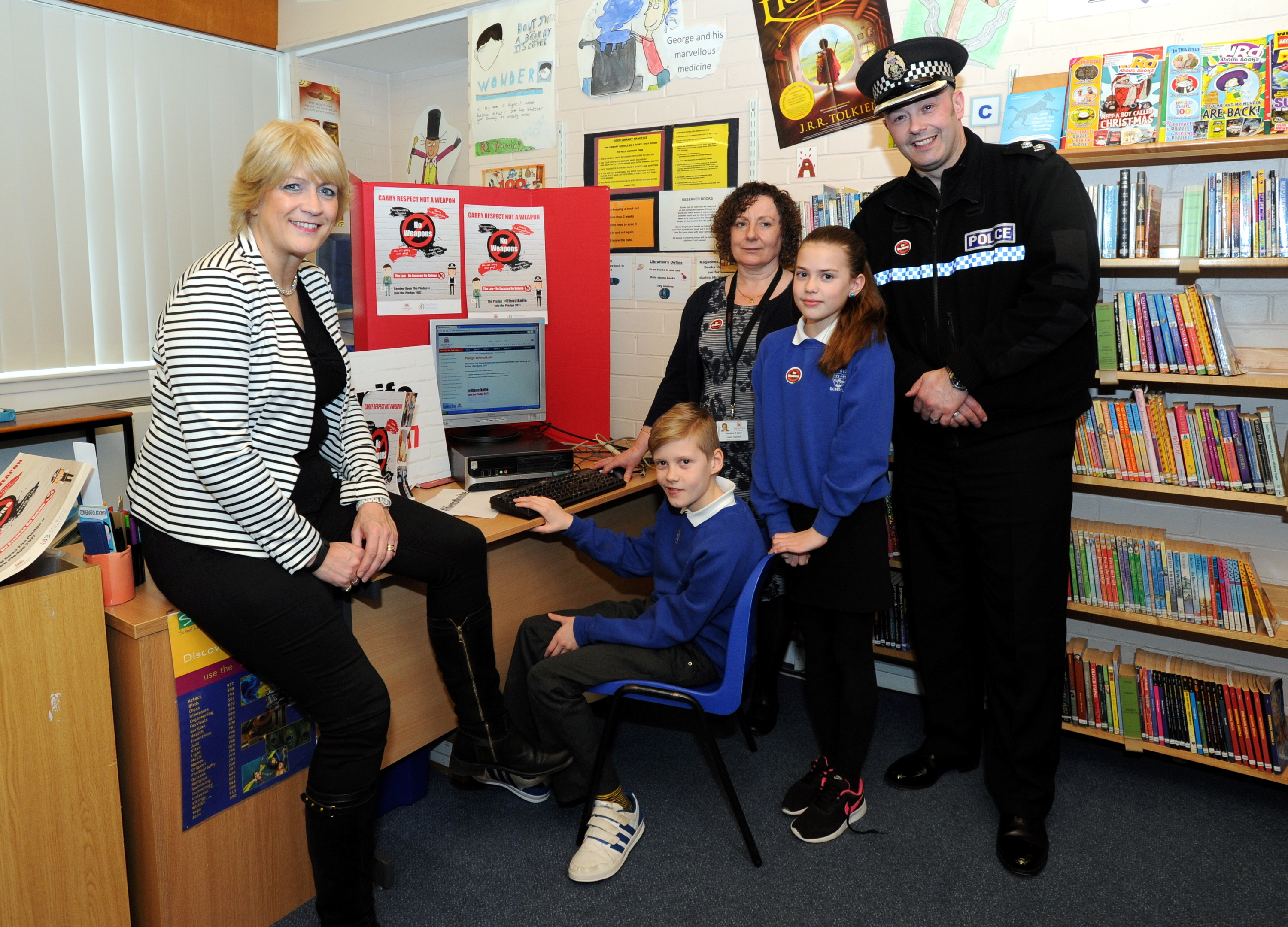 LAUNCH:  From left,  city council education convener Angela Taylor, pupils Coby Henderson and Zoe Allan, Scotstown School head teacher Caroline Bain and Inspector Colin Taylor.