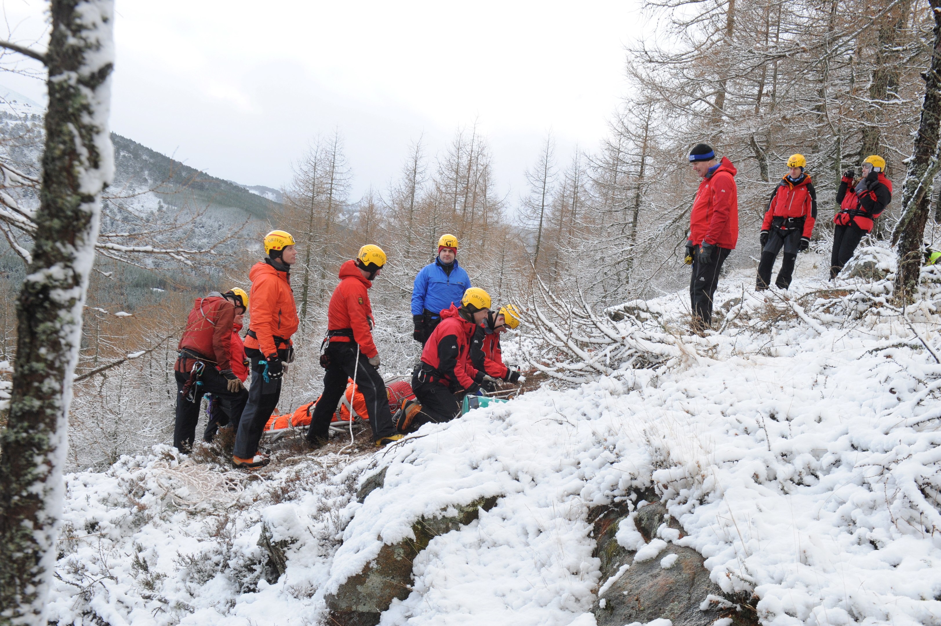 Braemar Mountain Rescue during a training exercise in the snowy hills.