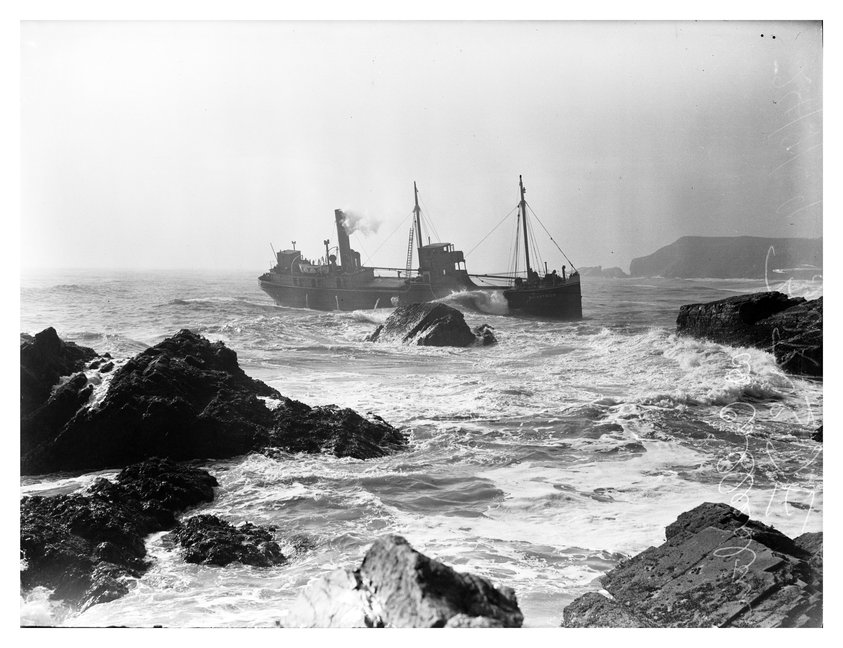 The wreck of the coaster, Brightside, pinned on the rocks at Collieston.